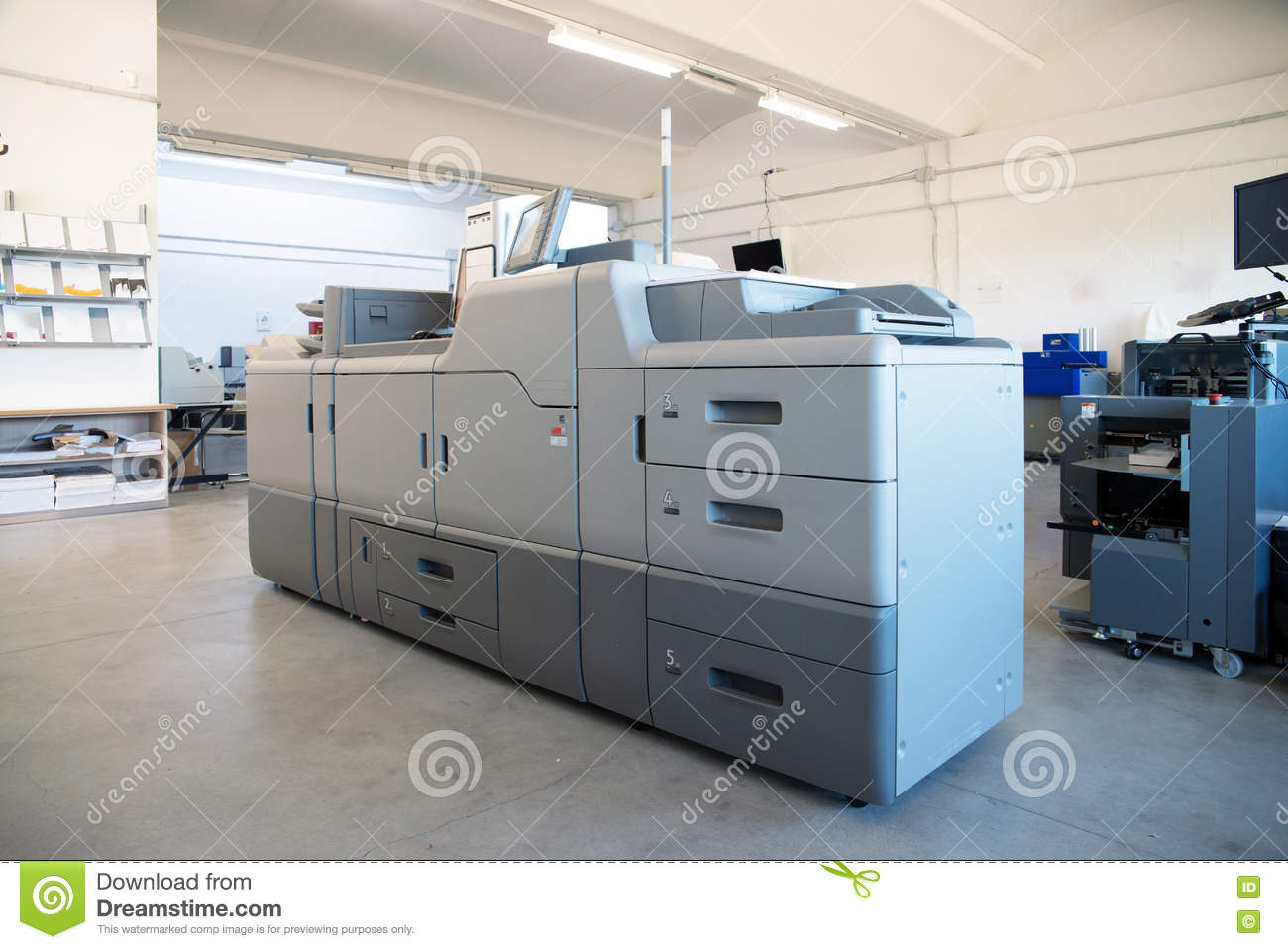 Print Shop - Digital Press Printing Machine Stock Photo - Image of