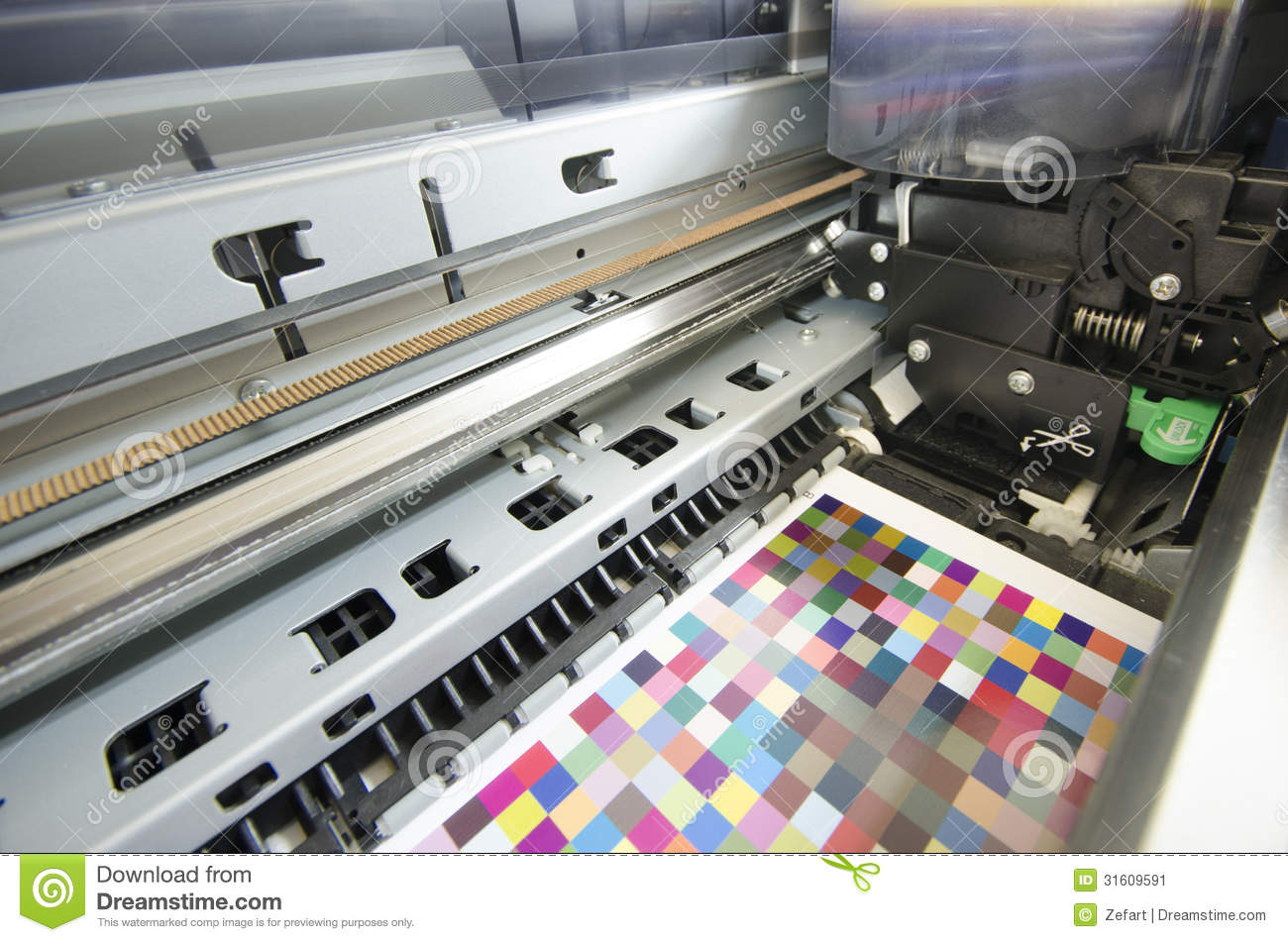 print shop inside large format ink jet printer stock image