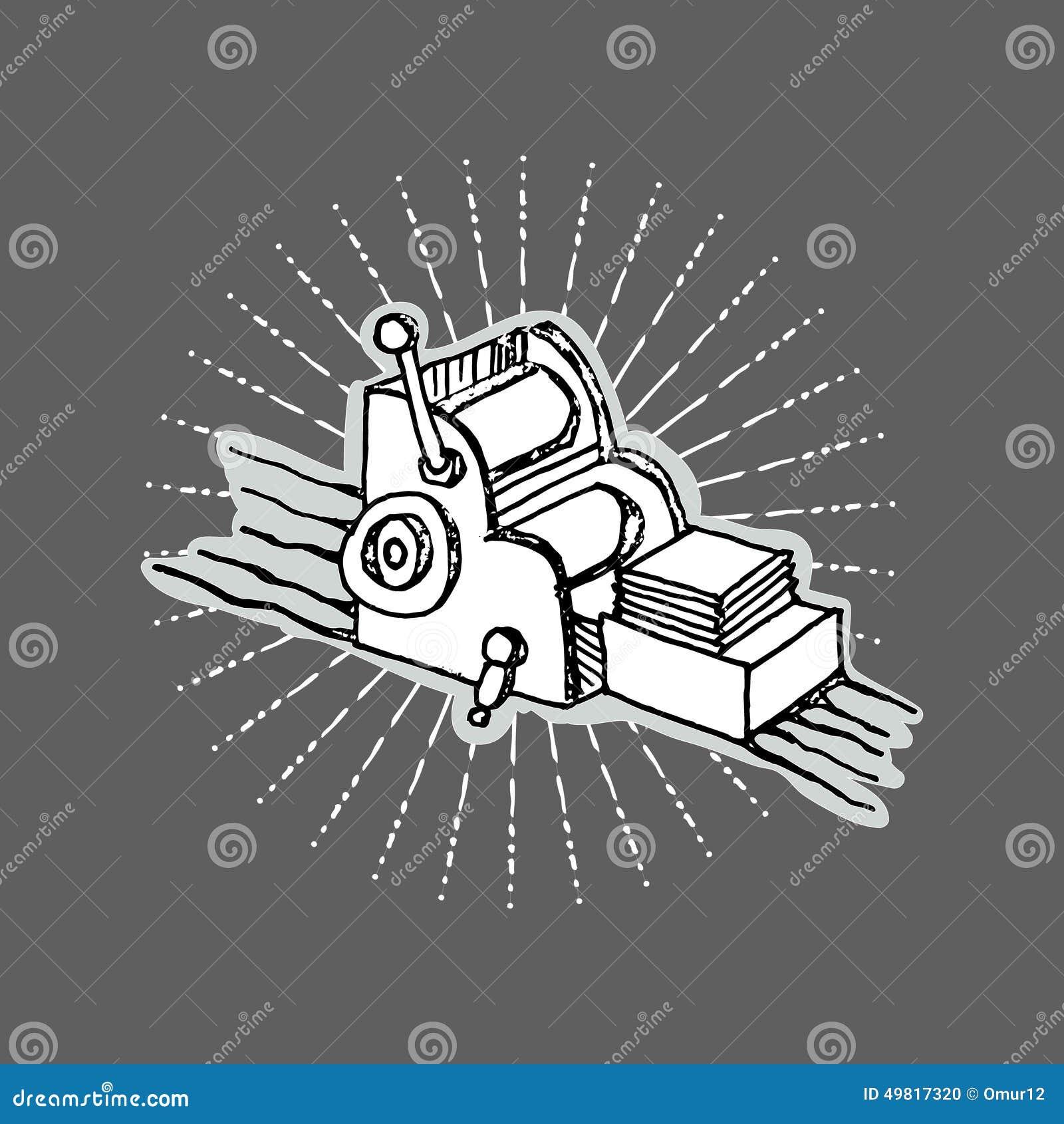 print shop logo desktop printing machine stock vector illustration