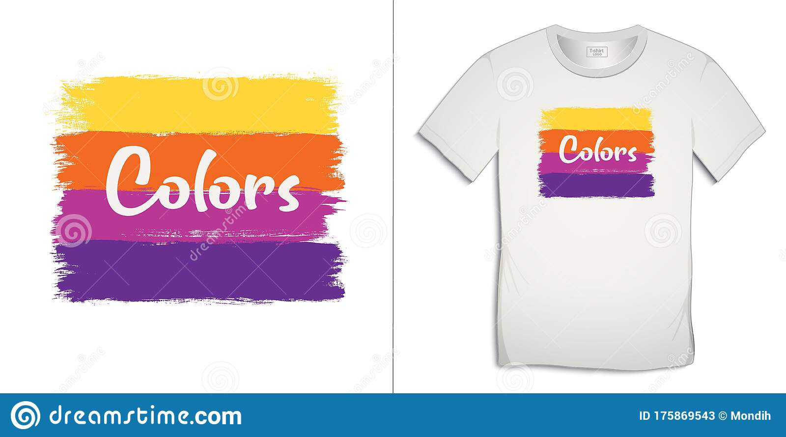 Print On T Shirt Graphics Design Paint Colors Isolated On White Background Stock Vector Illustration Of Design Proposal 175869543