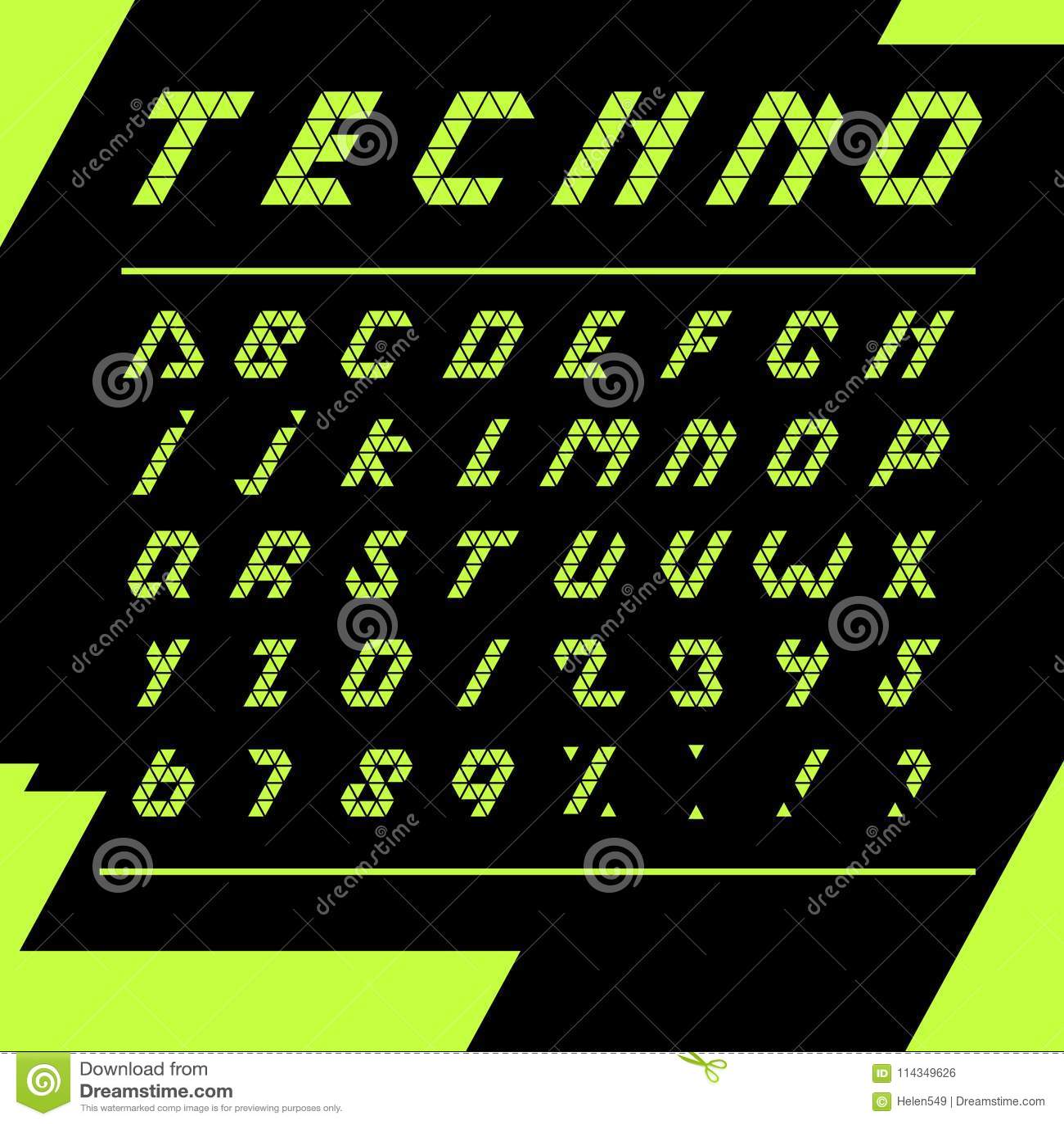 Abstract Modern Urban Alphabet Font: Print Techno Alphabet Black Background Stock Vector