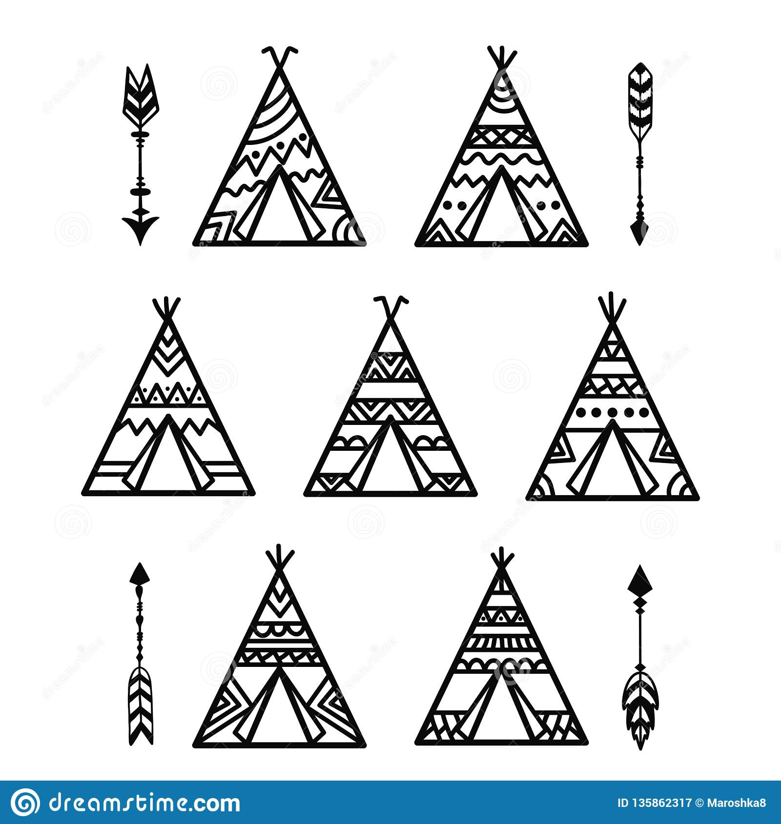 Tribal Tee Pee Tents Collections Royalty Free Stock Photo