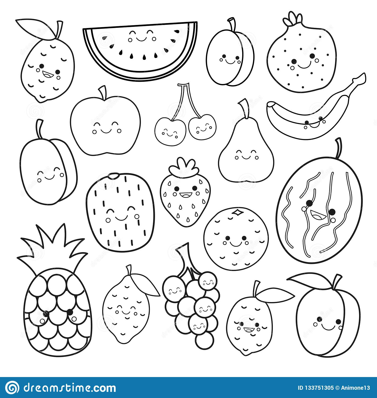 Vector set of cute fruits. stock vector. Illustration of collection ...