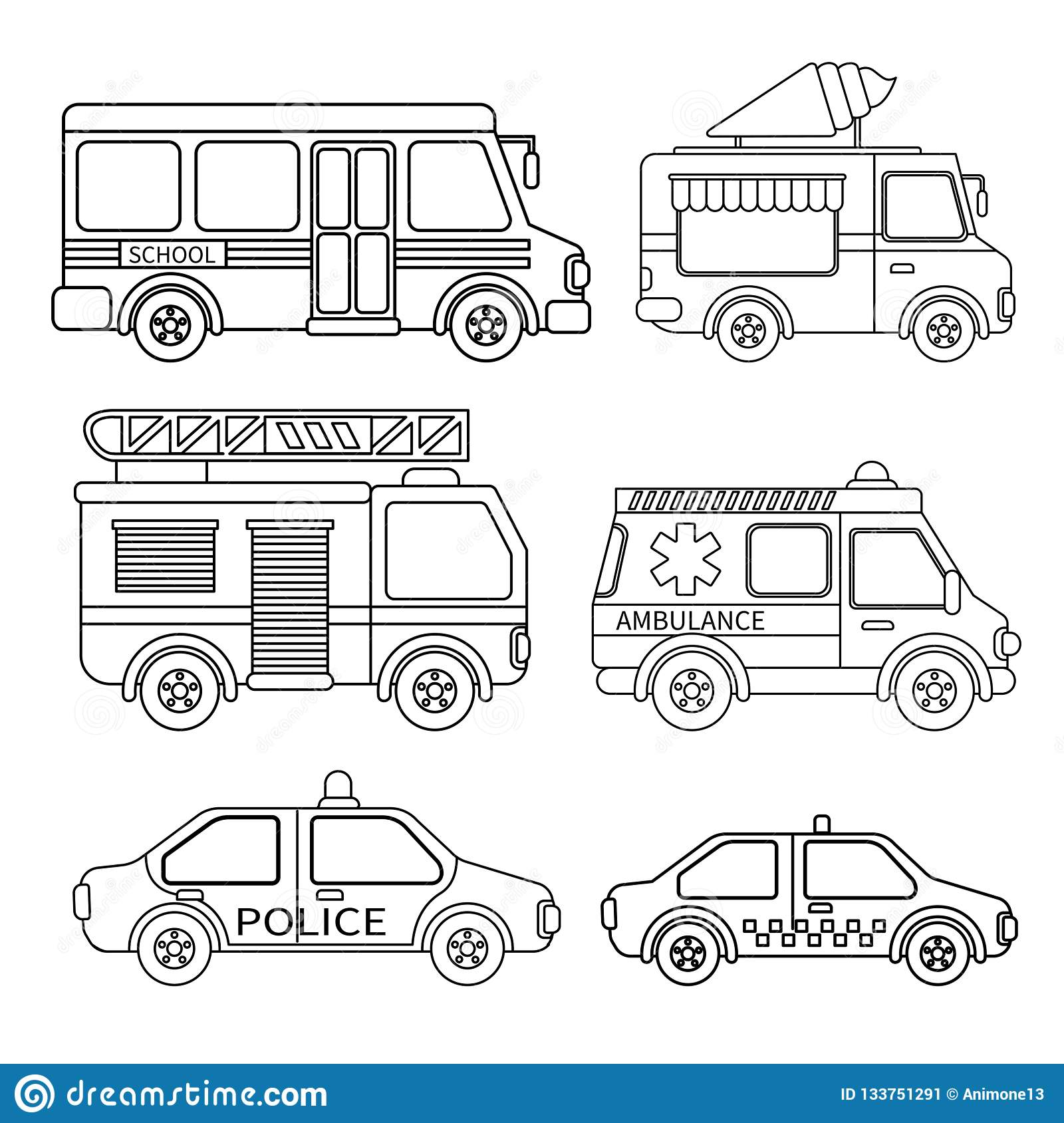 Vector Set Of Special Transport Stock Vector Illustration Of Fire Cream 133751291