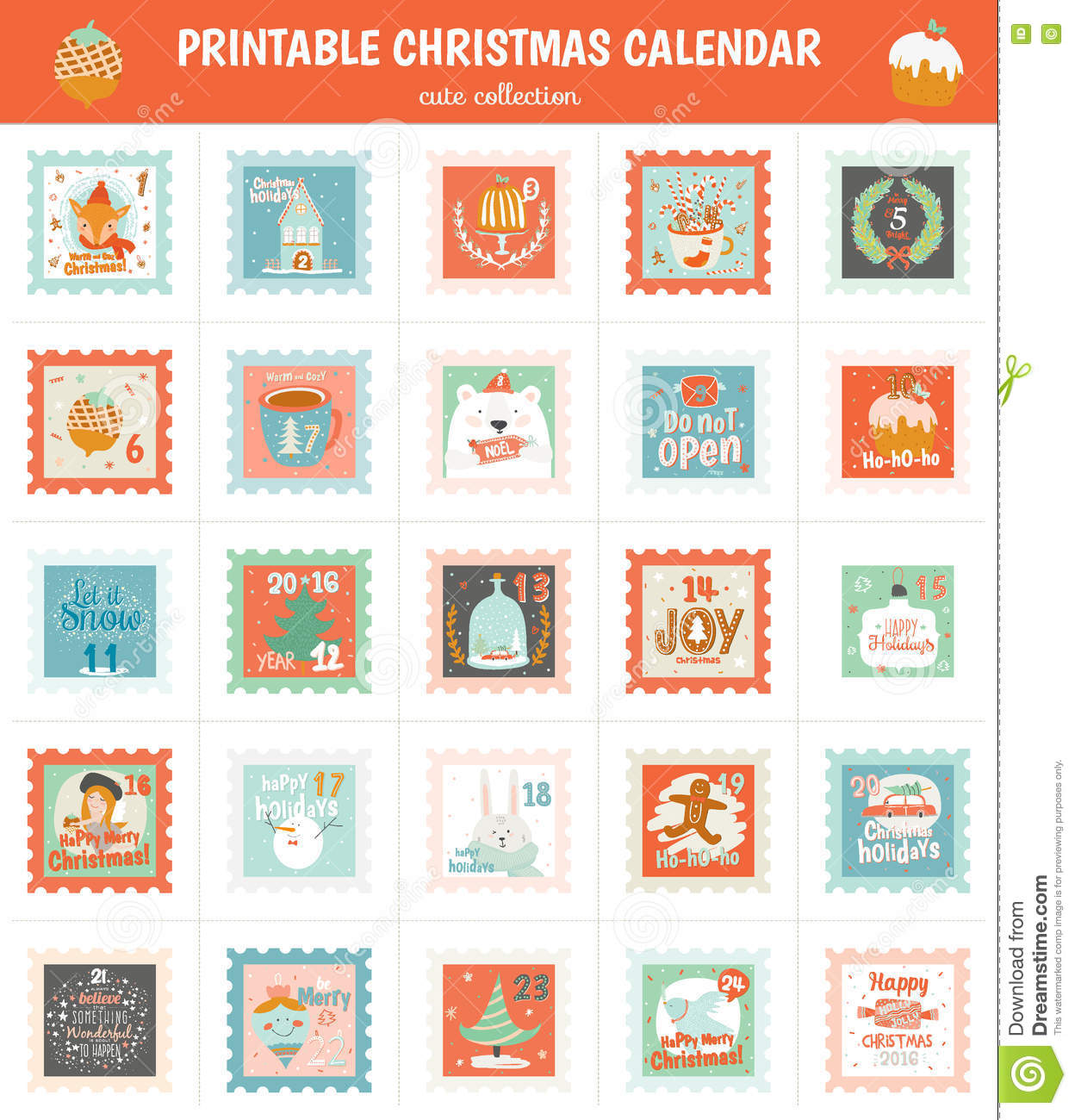 Printable Advent Calendar In Vector. Stock Vector ...