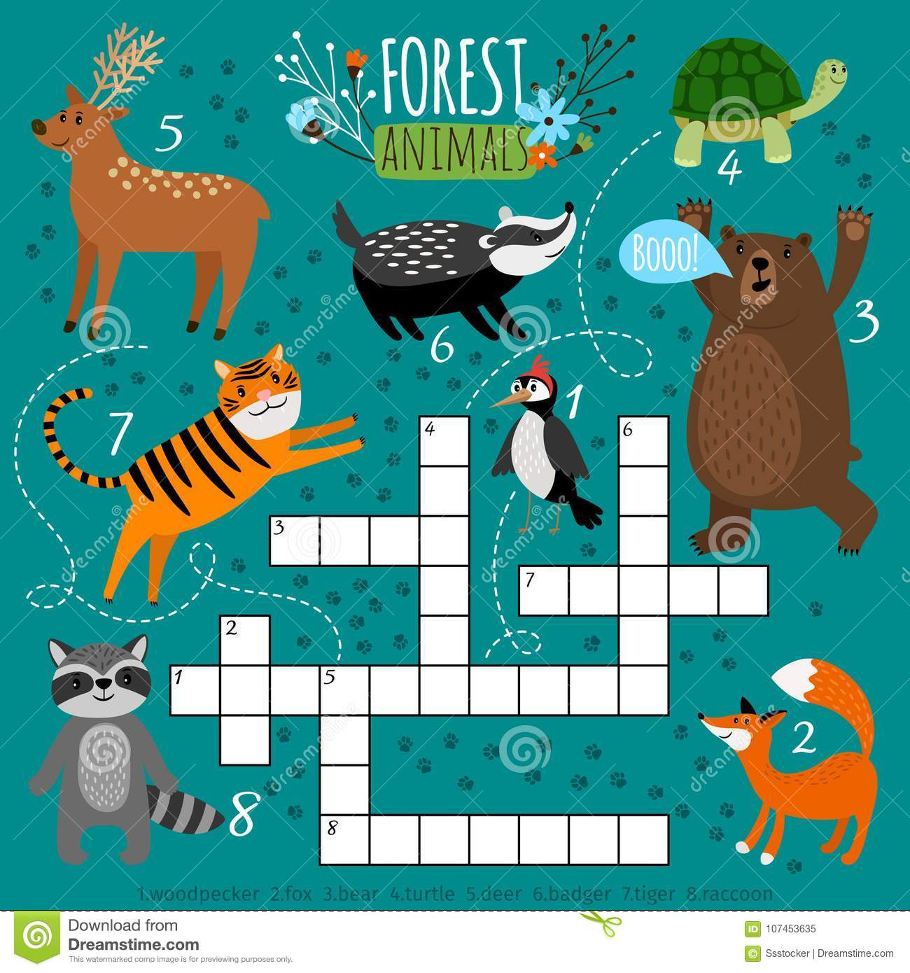 Printable Animal Crossword Stock Vector Illustration Of Puzzle