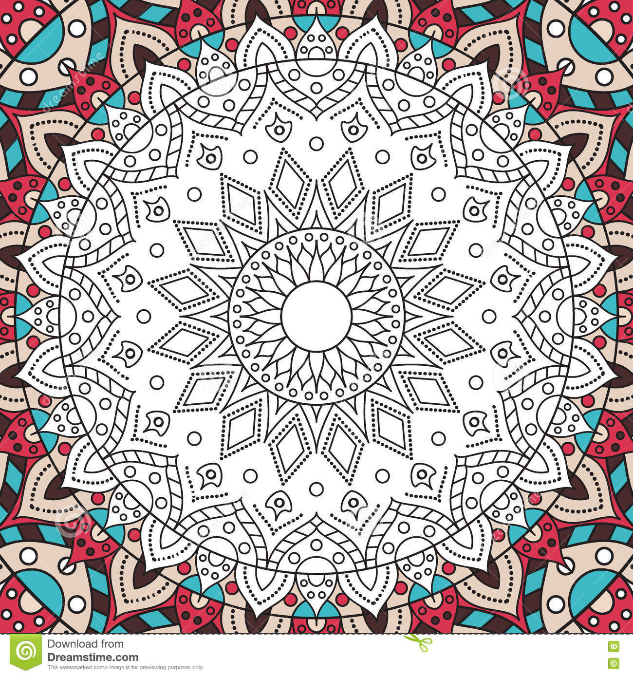 Printable Antistress Coloring Book Page For Adults Stock Vector