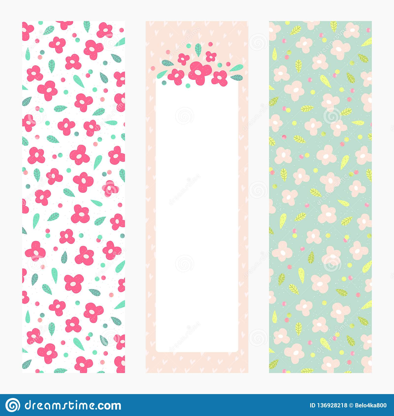 graphic relating to Bookmark Printable called Printable Bookmarks Or Banners With Small Bouquets Upon Pastel