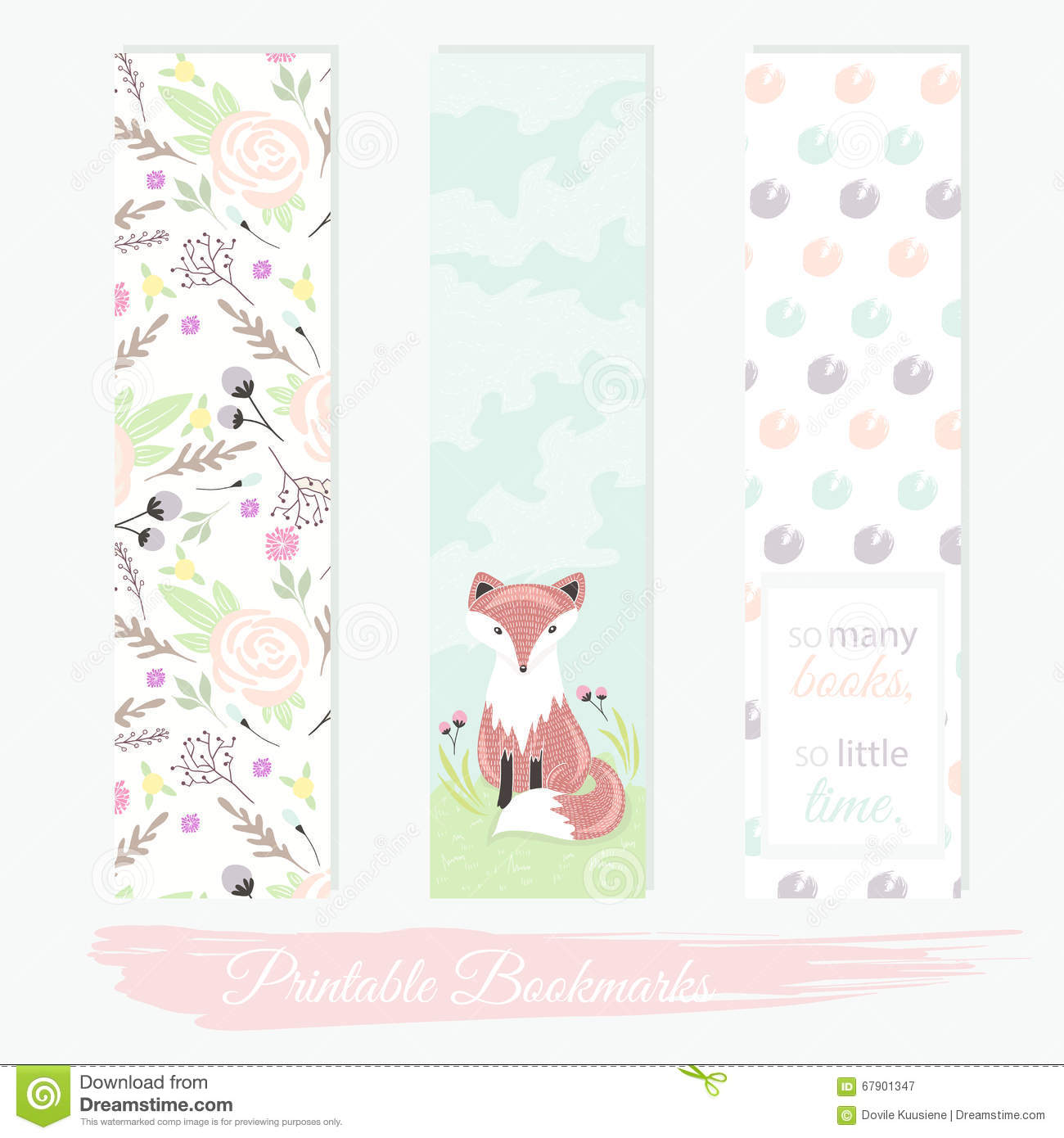 Printable bookmarks with flowers, fox and polka dots. Vector templates ...