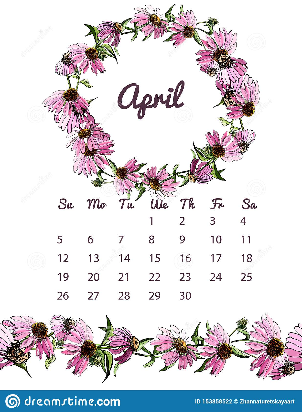 image about Wreath Printable titled Printable Botanical Calendar 2020 With Wreath And Countless