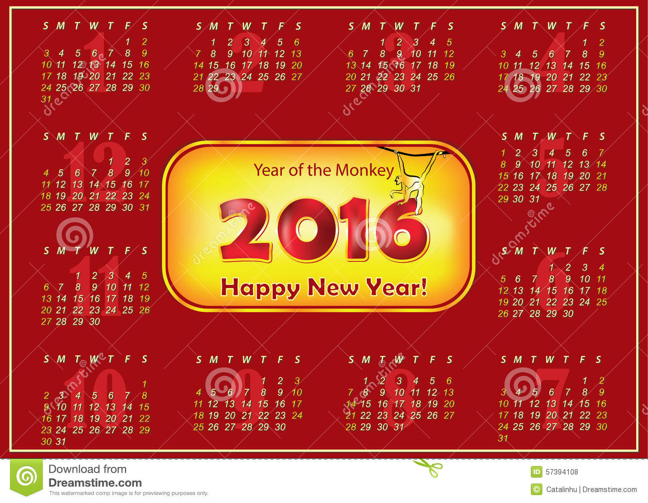Calendar for the year 2016 (Sunday first, English). Real size file is ...