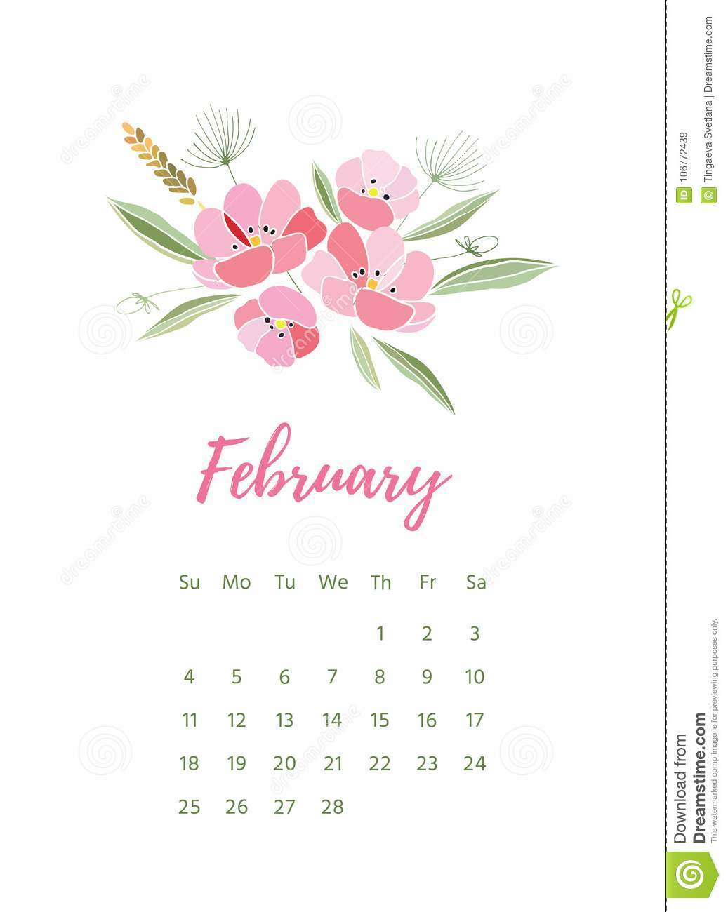 picture regarding Pretty Printable Calendar identified as Printable 2018 Calendar With Charming Vibrant Bouquets Inventory