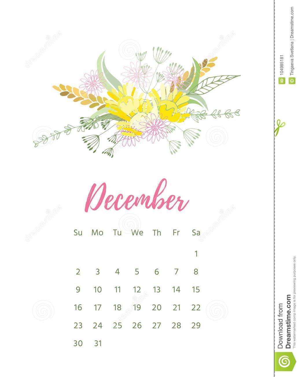 picture relating to Pretty Printable Calendar known as Printable 2018 Calendar With Lovely Colourful Bouquets Inventory