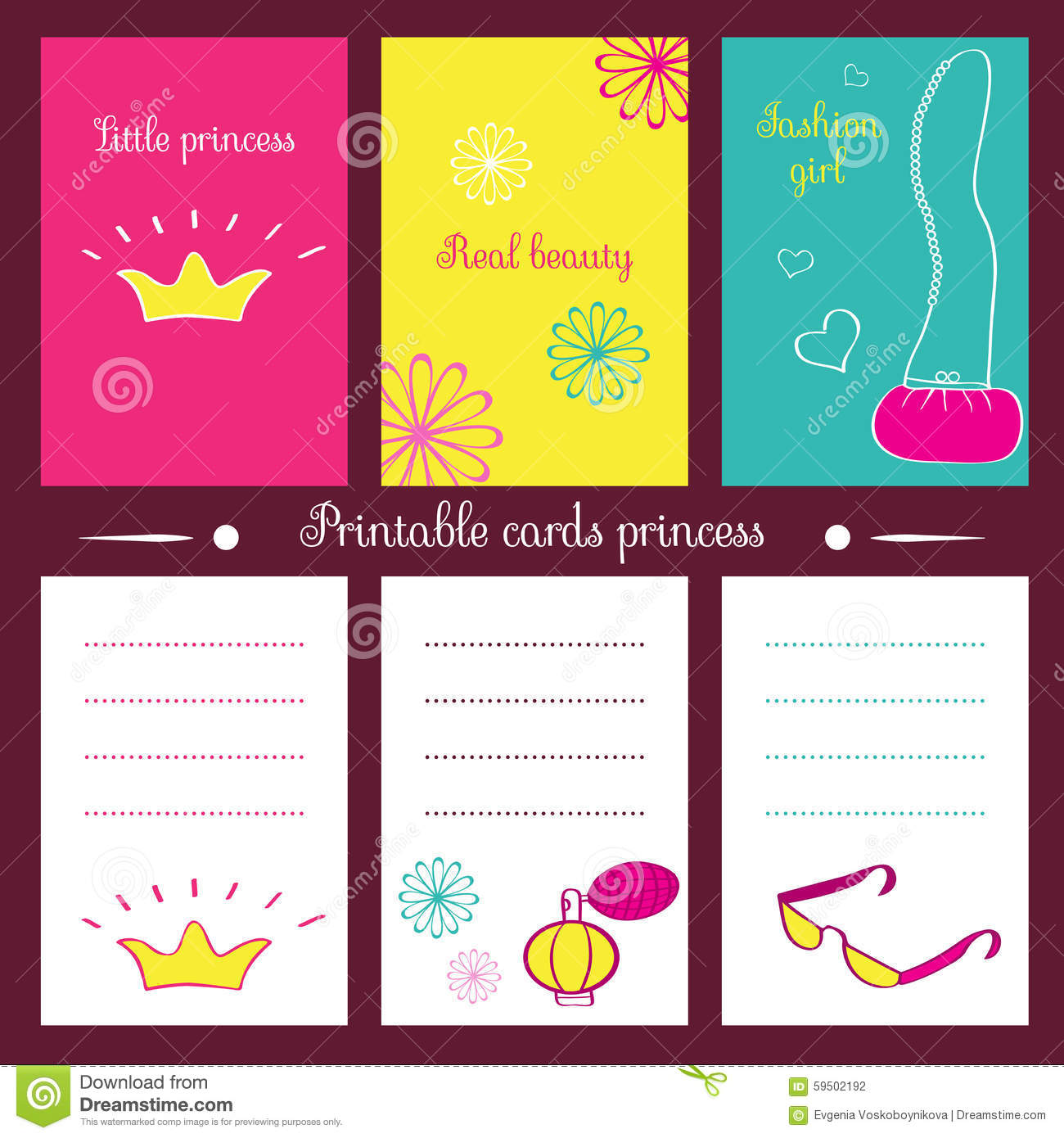 picture about Printable Notepads titled Printable playing cards princess. inventory vector. Instance of