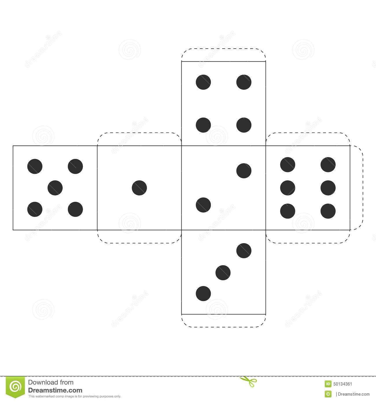 Printable Casino Dice Template, Vector Illustration for Your Projects.