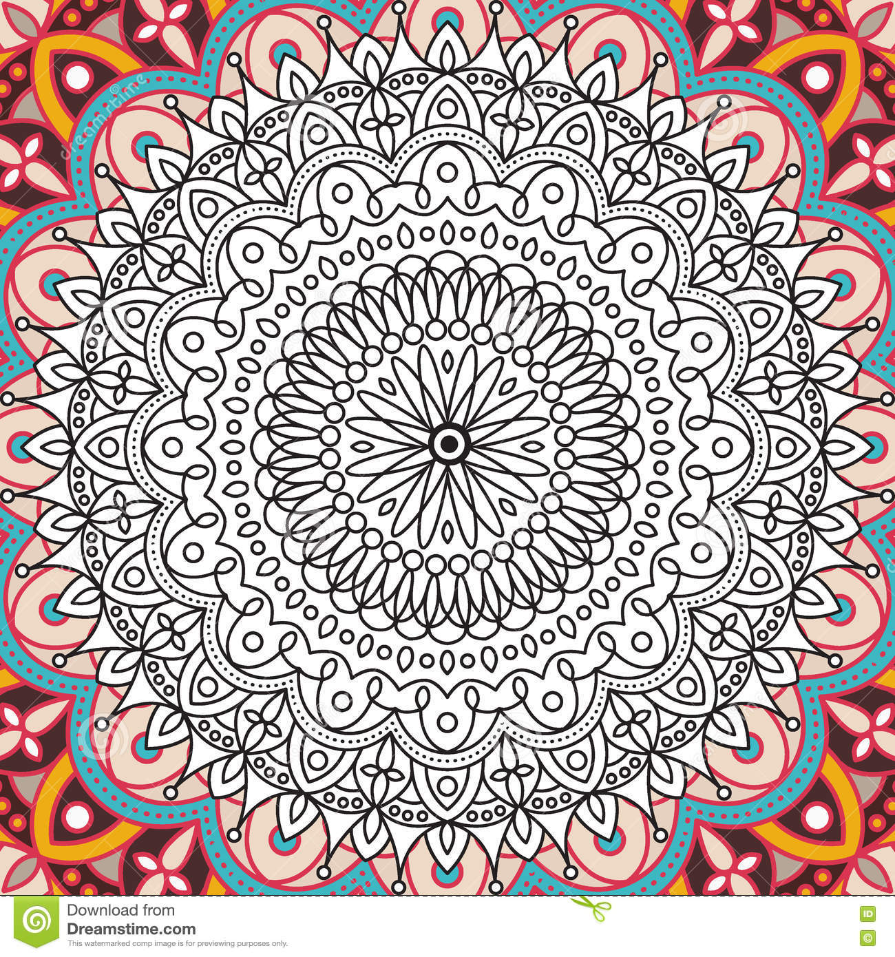 printable coloring book page for adults mandala design activity