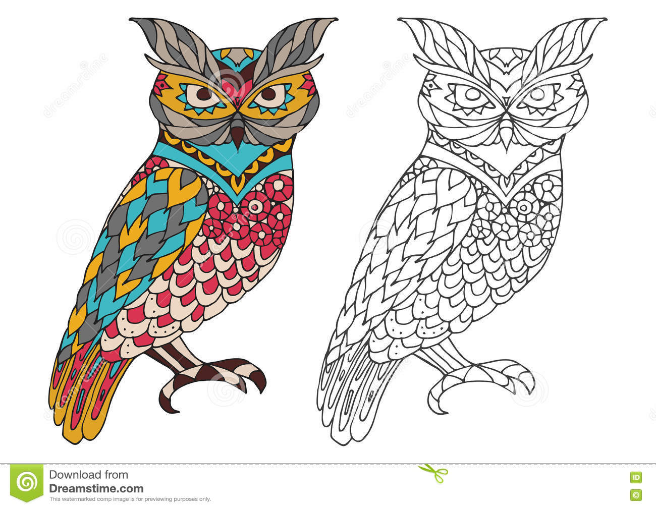 Printable Coloring Book Page For Adults Owl Design Activity To