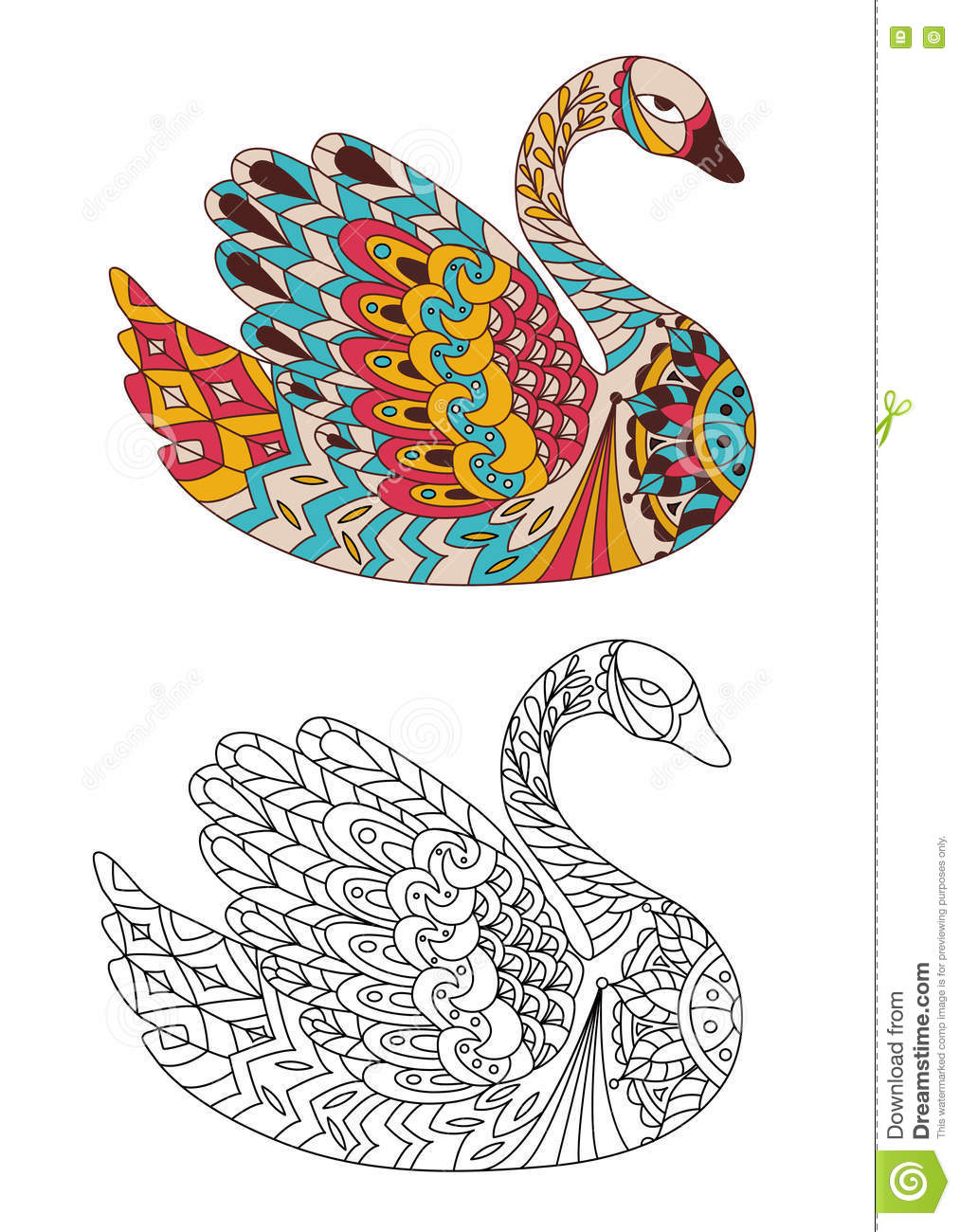 Printable Coloring Book Page For Adults Swan Design Activity To