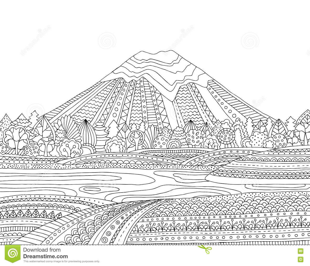 printable coloring page for adults with mountain landscape lake