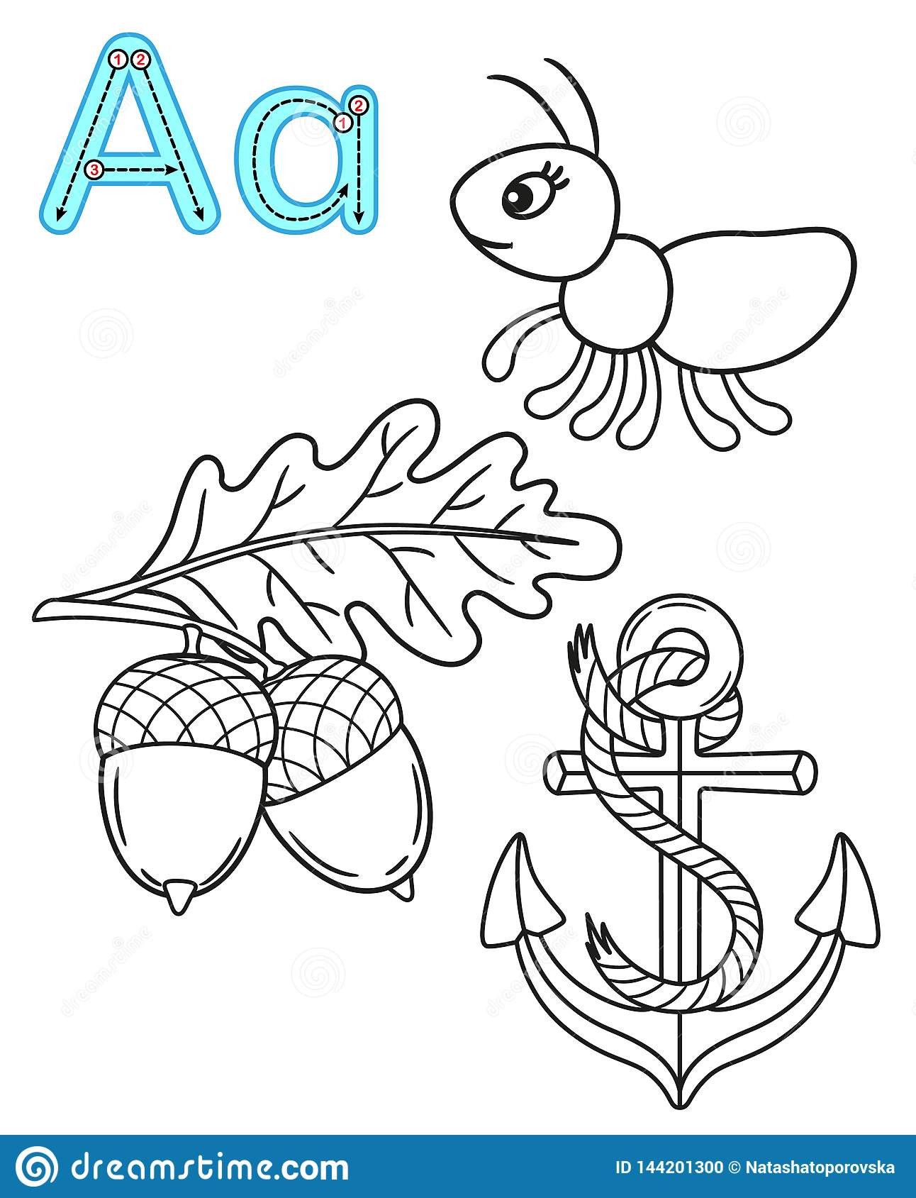 Printable Coloring Page For Kindergarten And Preschool Card For Study English Vector Coloring Book Alphabet Letter A Anchor Stock Vector Illustration Of Line Isolated 144201300