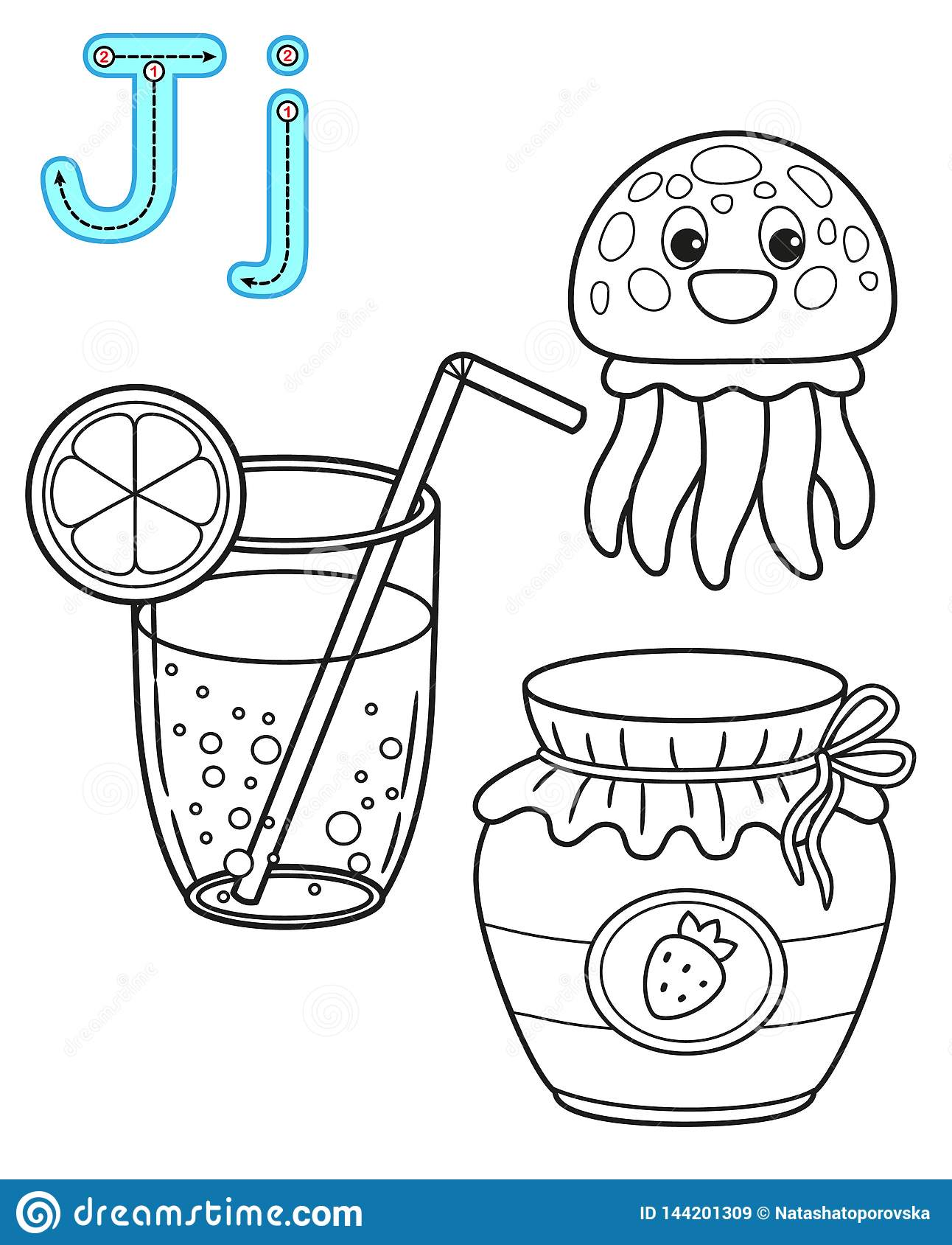 printable coloring page kindergarten preschool card study english vector coloring book alphabet letter j juice
