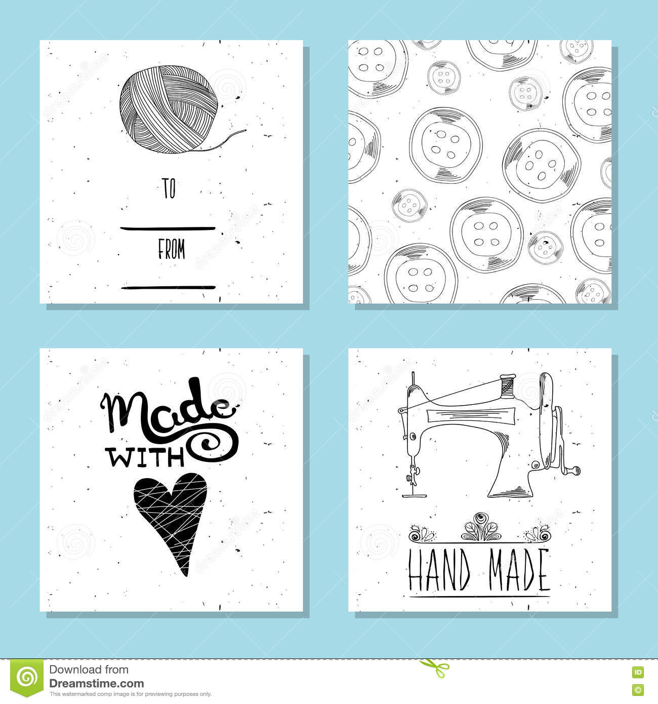 Printable Cute Cards For Sites In The Retro Style Of Hand-drawn ...
