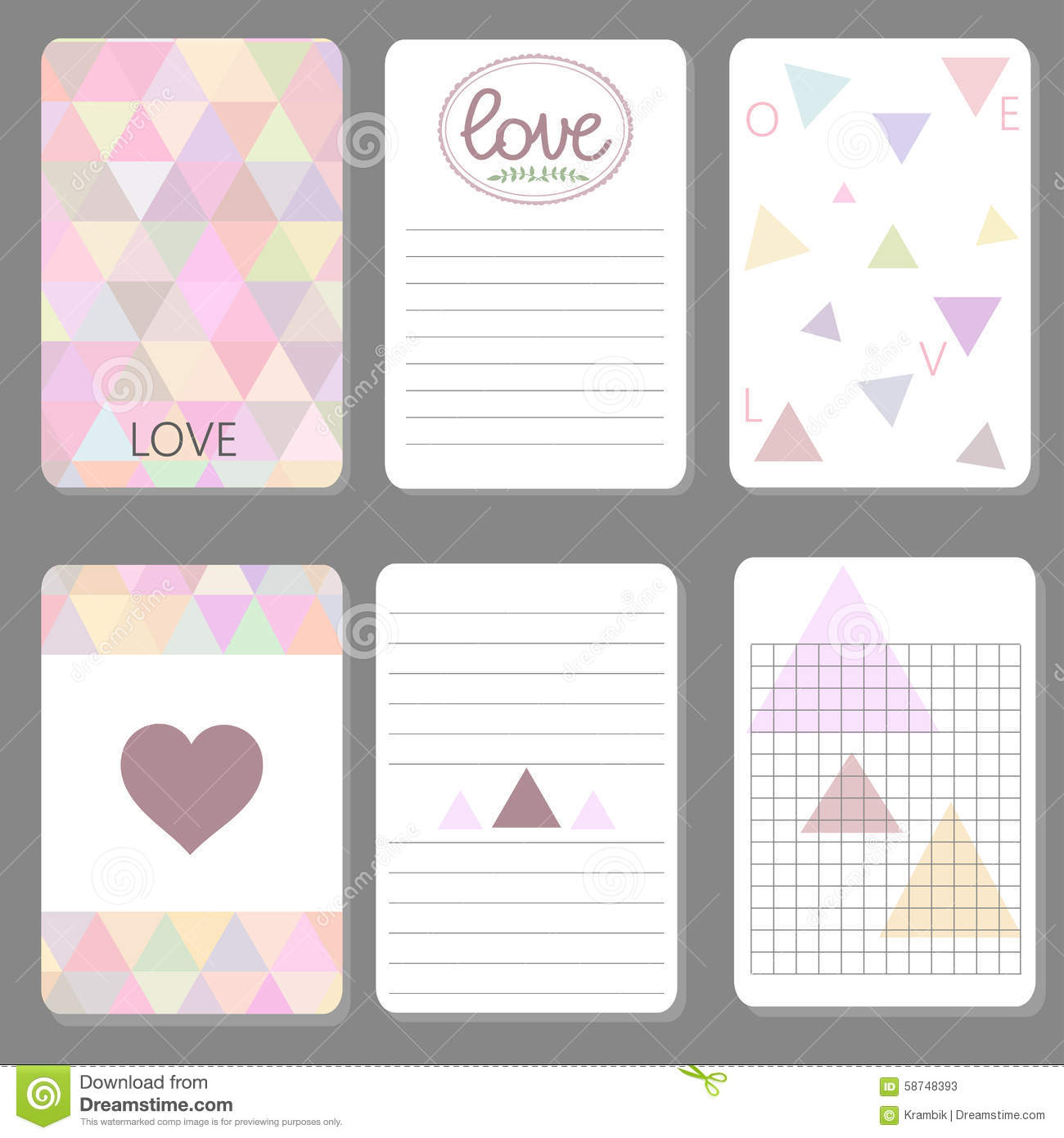 Printable Cute Design Cards Triangle  Printable Notepad Paper