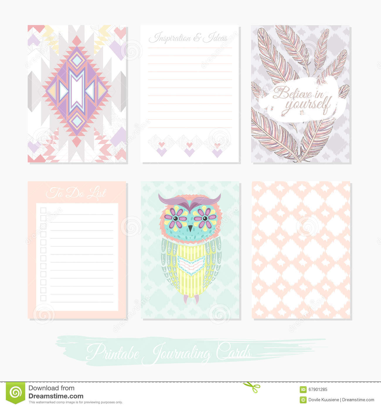 printable cute set of filler cards with aztec pattern owl stock