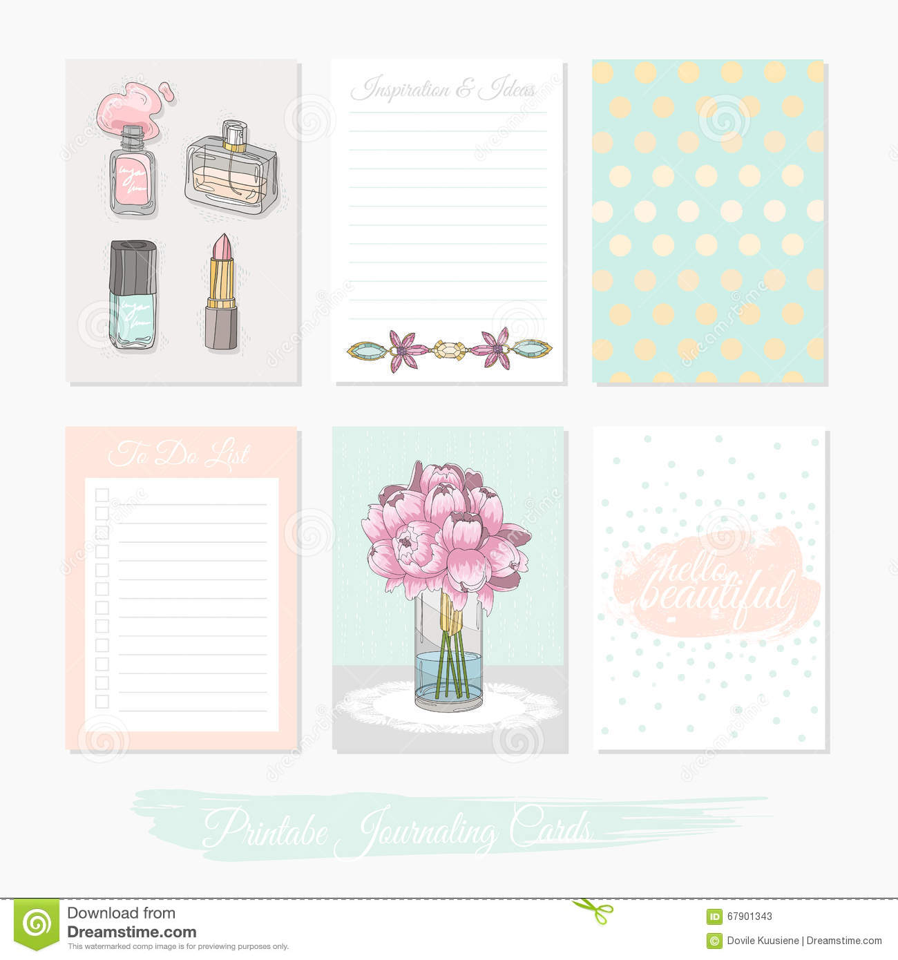 Printable Cute Set Of Filler Cards With Flowers, Makeup