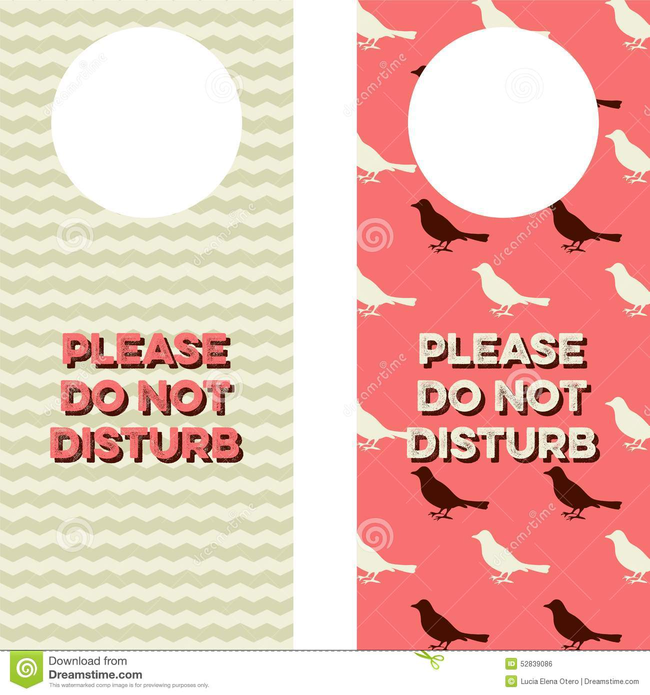 Two Door Knob Tags That Read Please Do Not Disturb And Have Chevron Bird Patterns