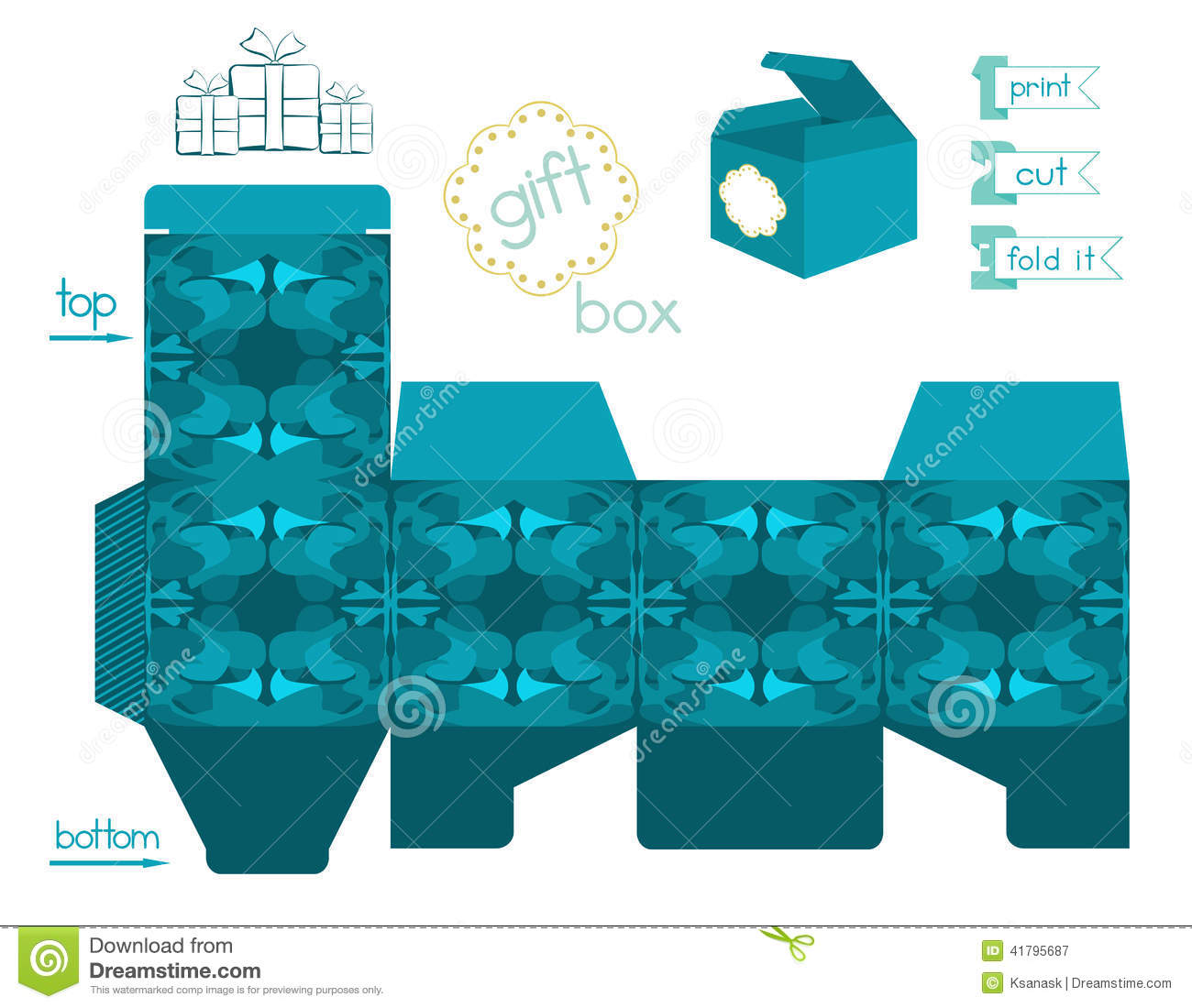 Printable Gift Box With Abstract Pattern Stock Vector - Image ...