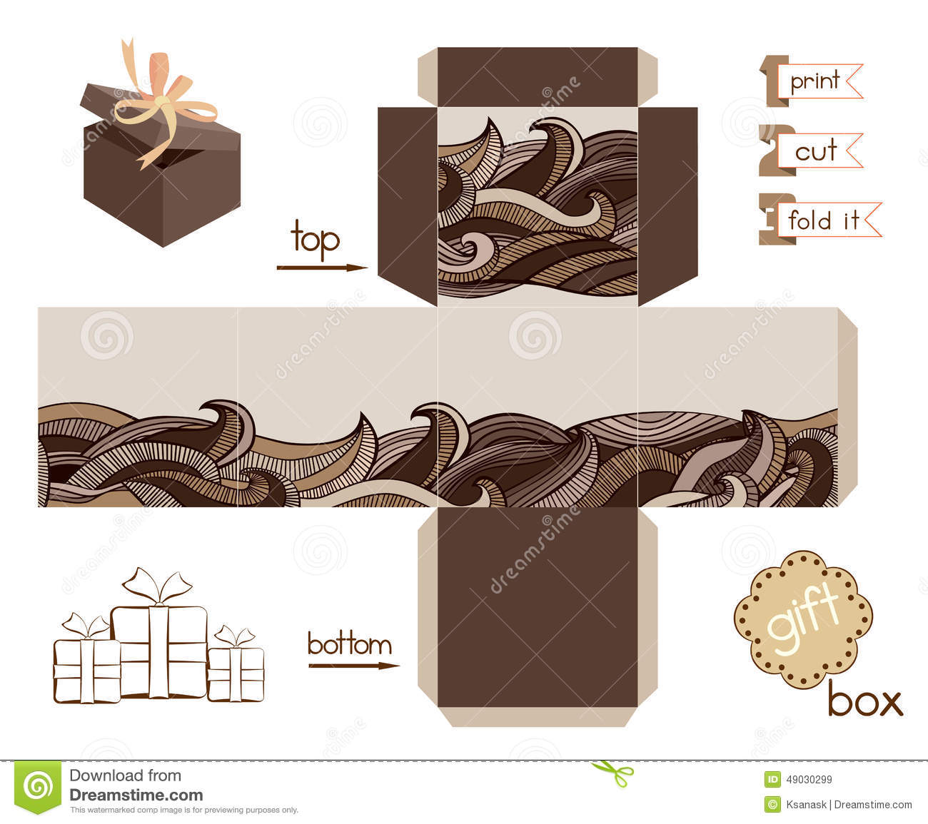 Printable Gift Box With Abstract Wavy Pattern Stock Vector