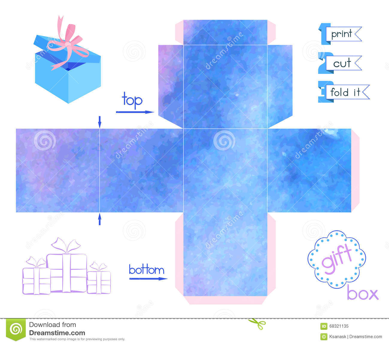 photograph regarding Printable Box identify Printable Reward Box With Blue Blurring Watercolor Imitation
