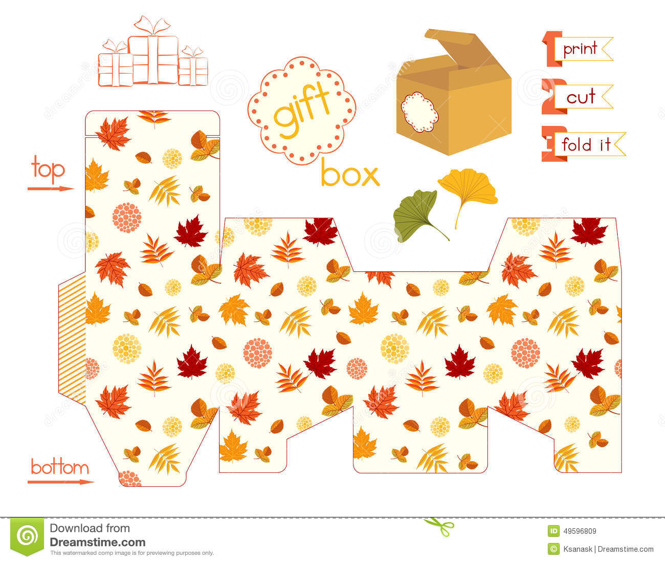 printable gift box with colorful autumn leaves stock vector