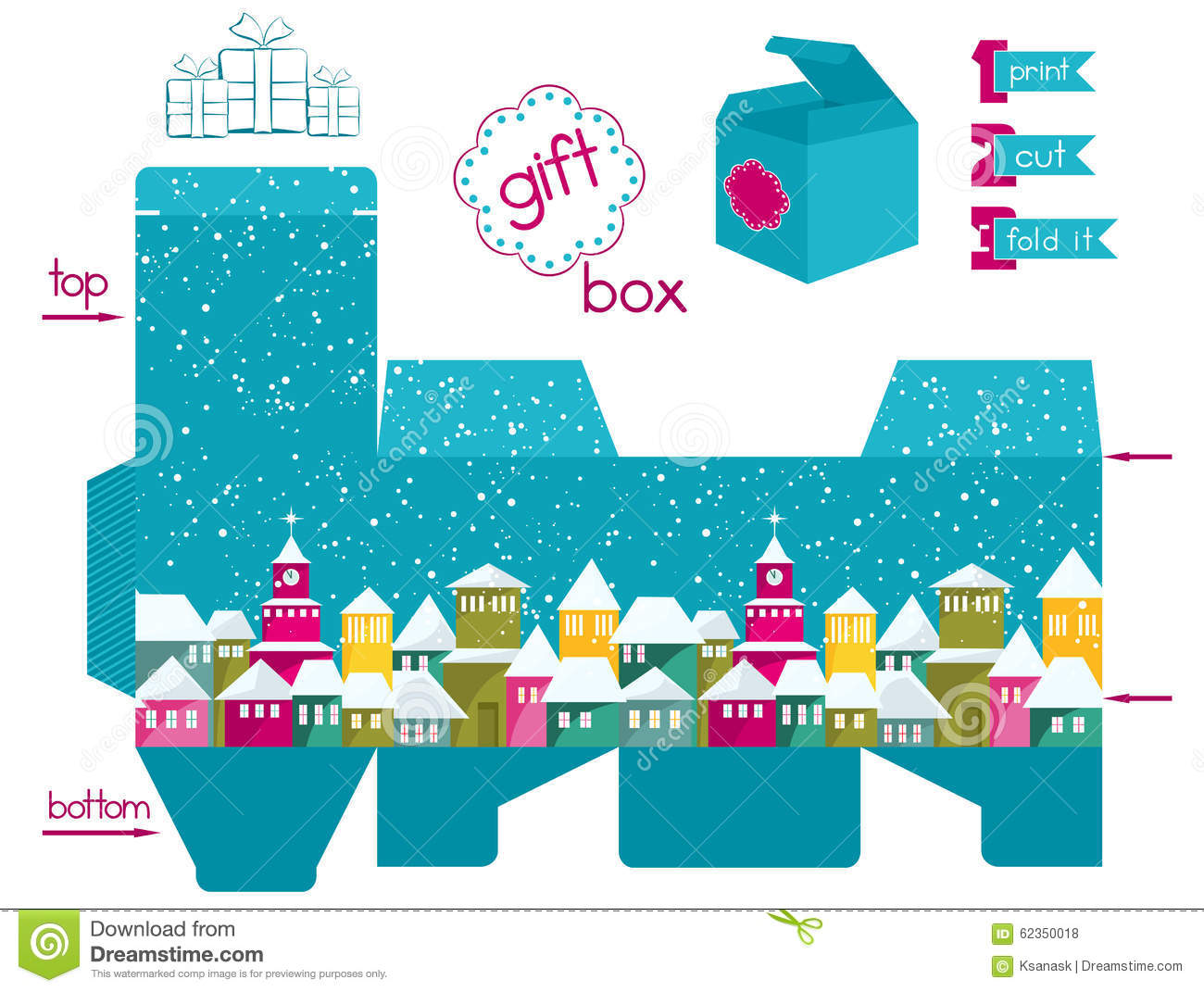 Printable Gift Box With Colorful Snowcovered Town Stock