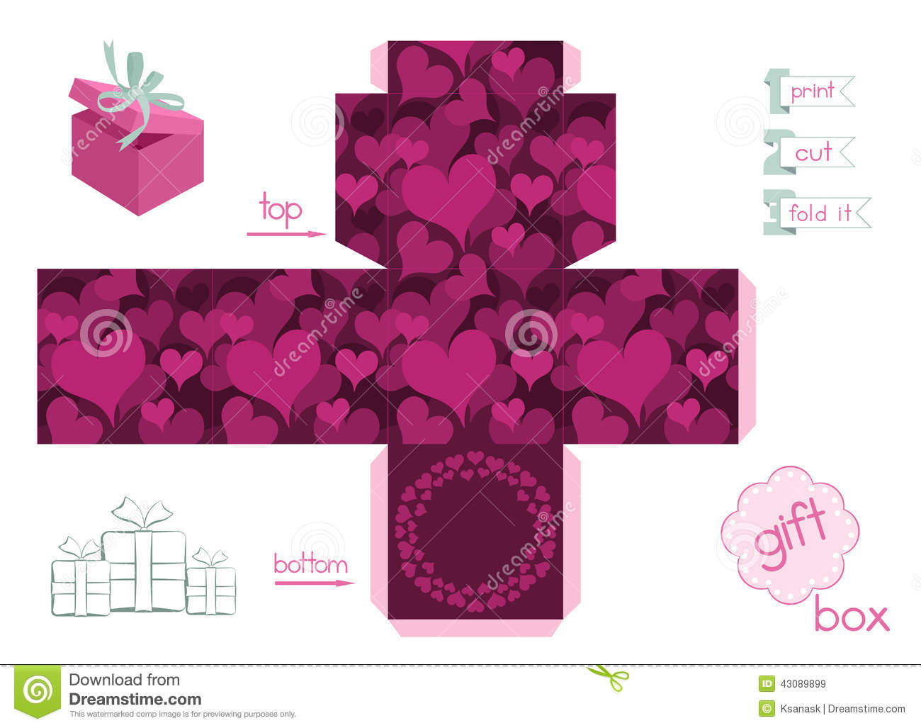 Printable Gift Box With Hearts Stock Vector - Illustration of heart ...