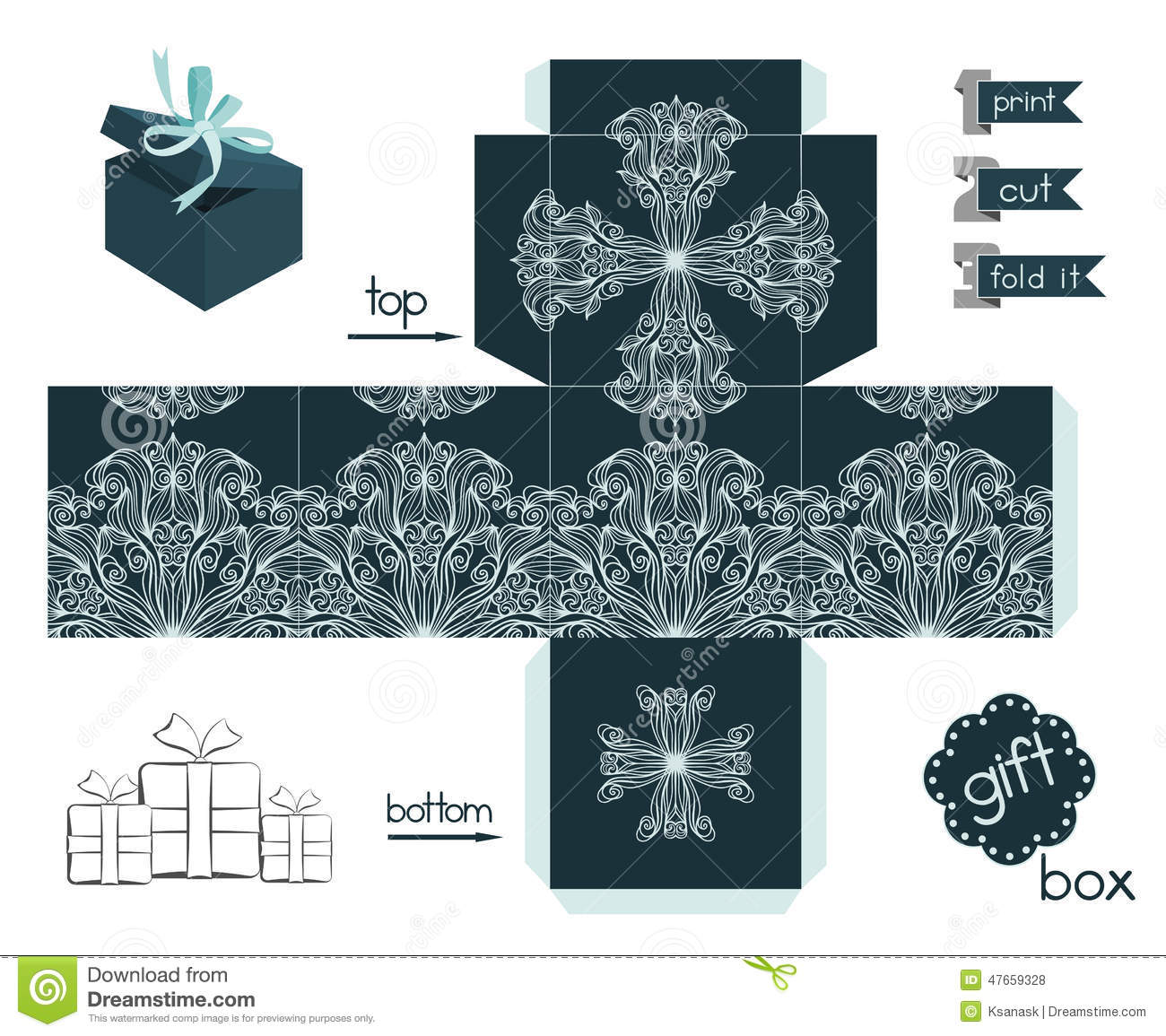 Template for cubic gift box with lid. Favor box with lacy pattern ...