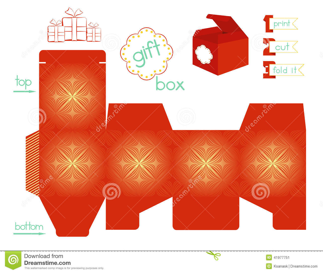 Printable Gift Box With Line Symmetric Pattern Stock