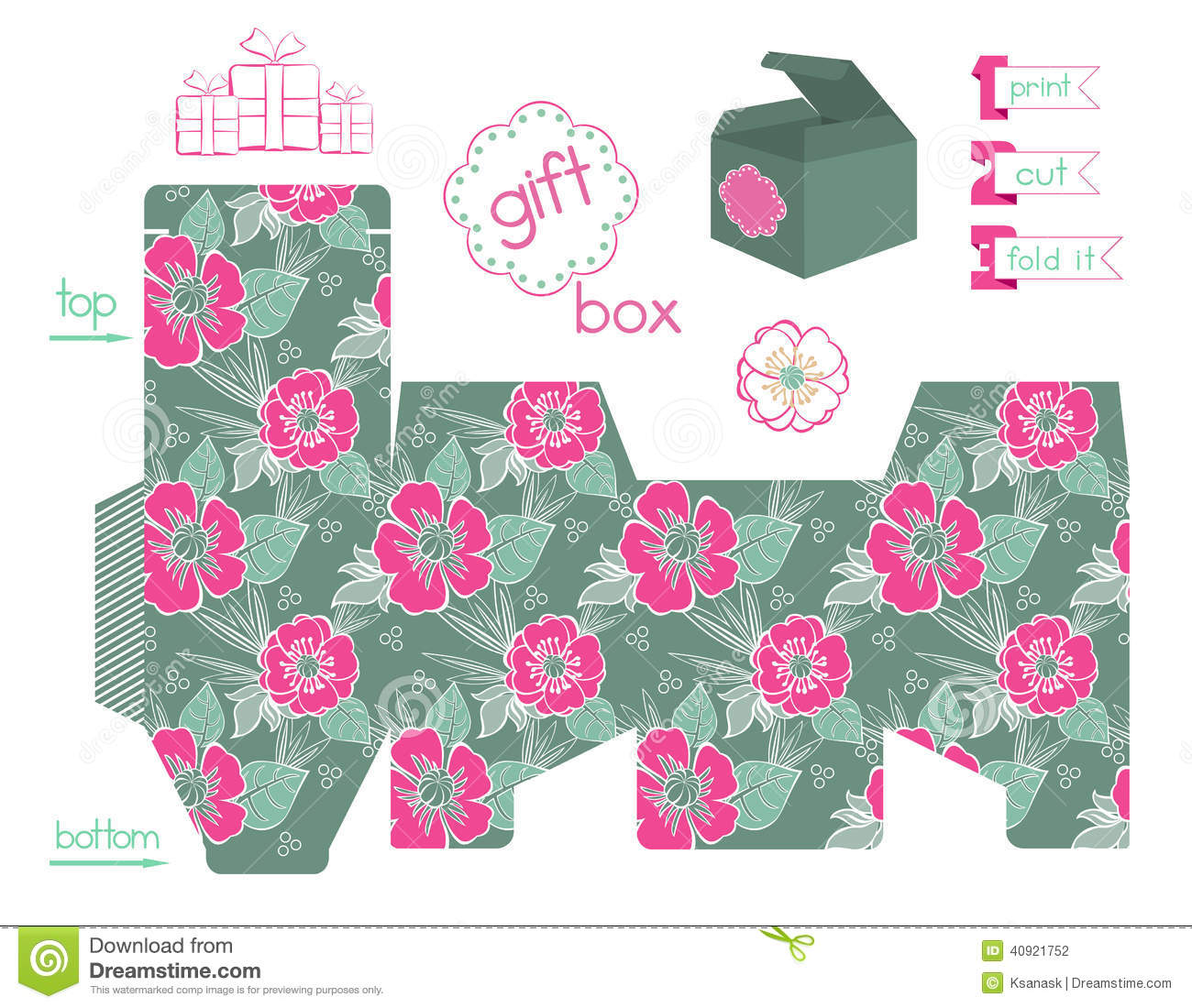 Printable Gift Box With Poppies Pattern Stock Vector - Image: 40921752