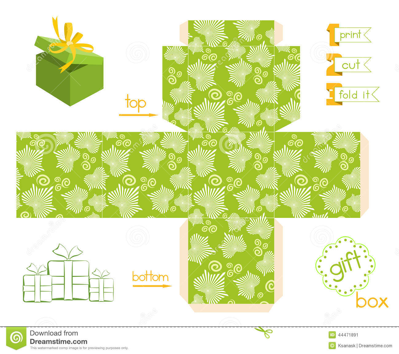 printable gift box striped leaves pattern stock vector