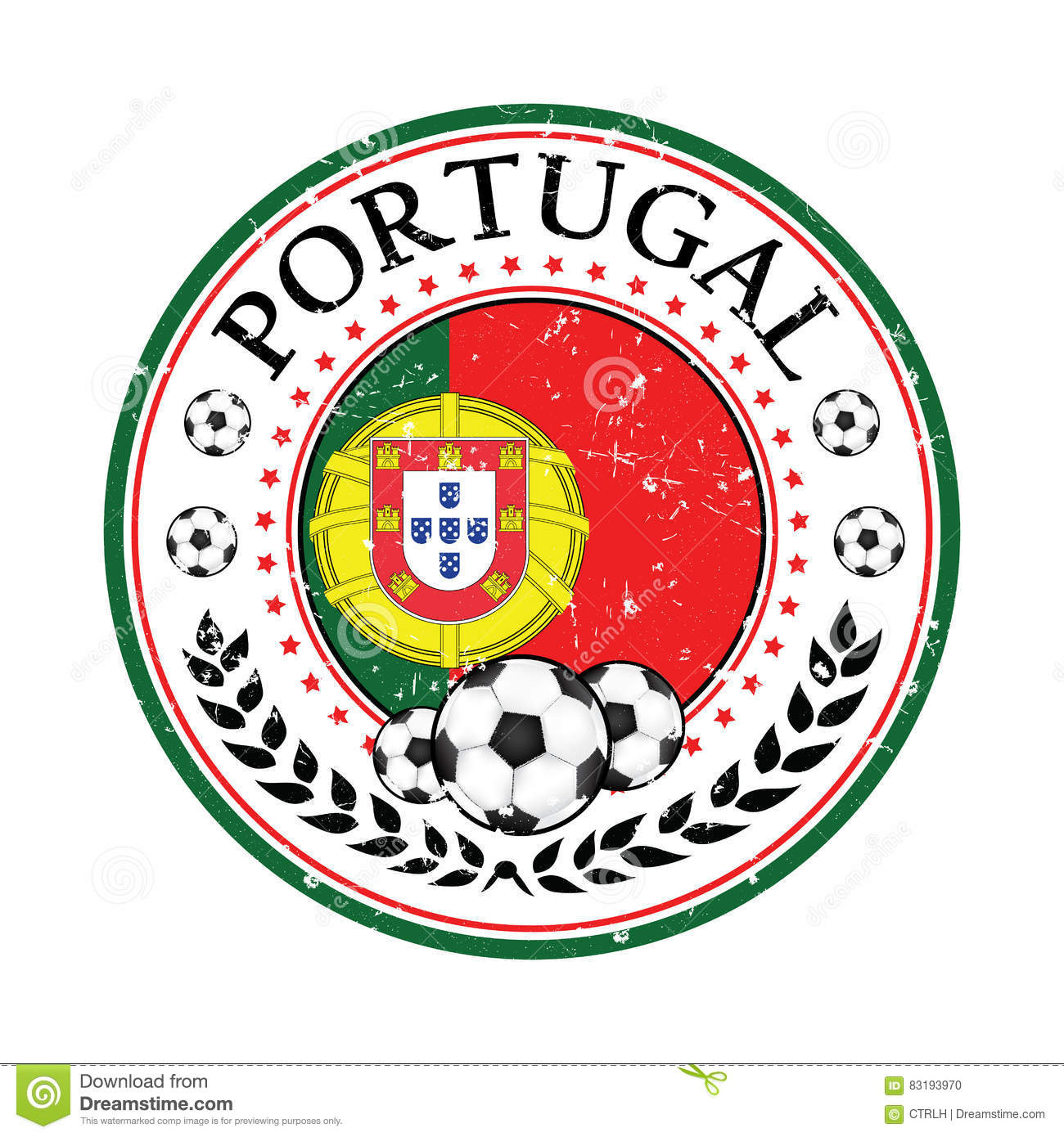 Printable Grunge Portugal Football Label Stock Illustration