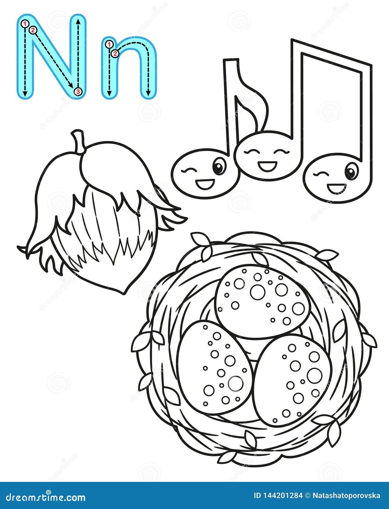 Printable kolorystyki strona dla dziecina i preschool Karta dla nauk angielszczyzn Wektorowy kolorystyki ksi??ki abecad?o liter?