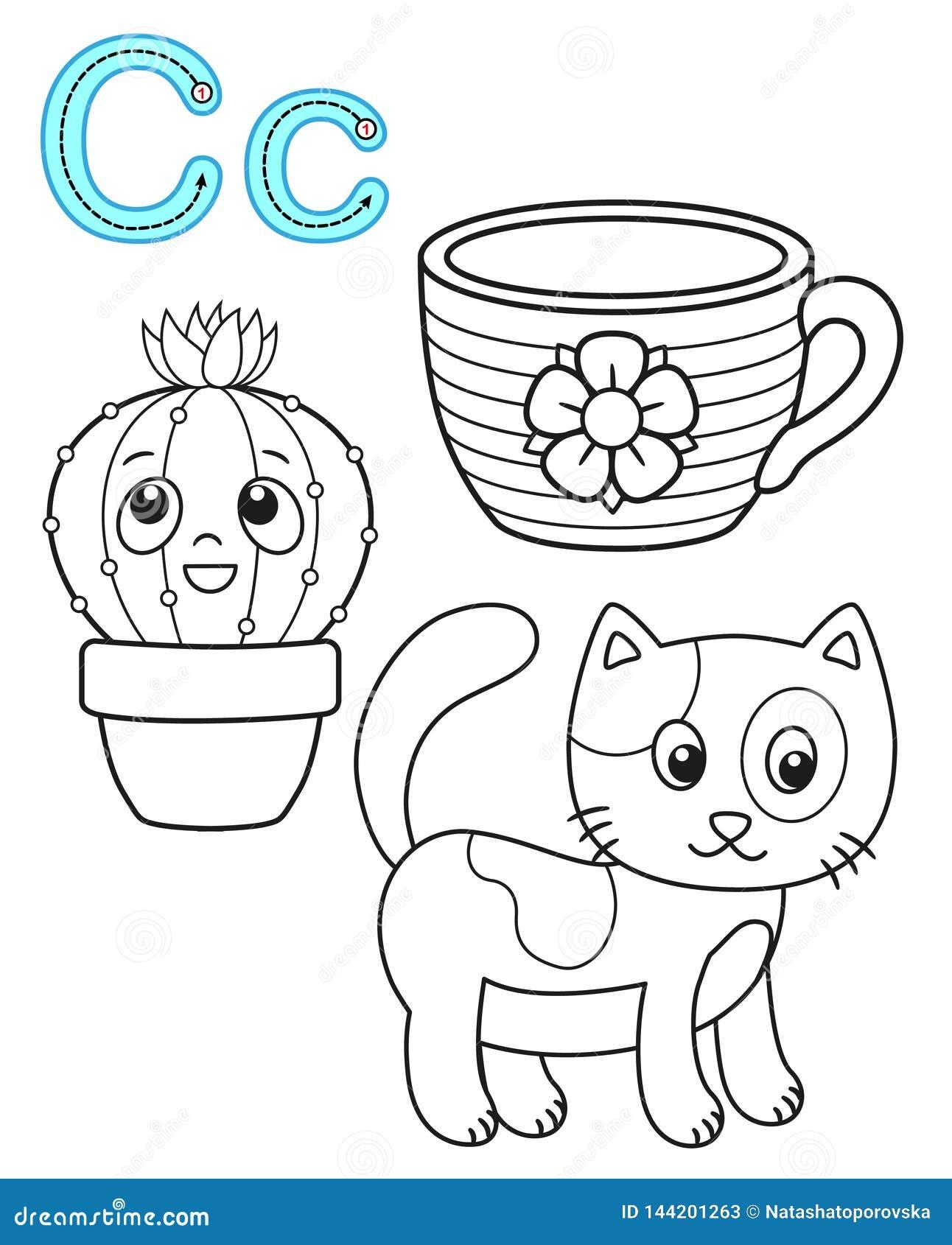 Printable kolorystyki strona dla dziecina i preschool Karta dla nauk angielszczyzn Wektorowy kolorystyki ksi??ki abecad?o Pisze l