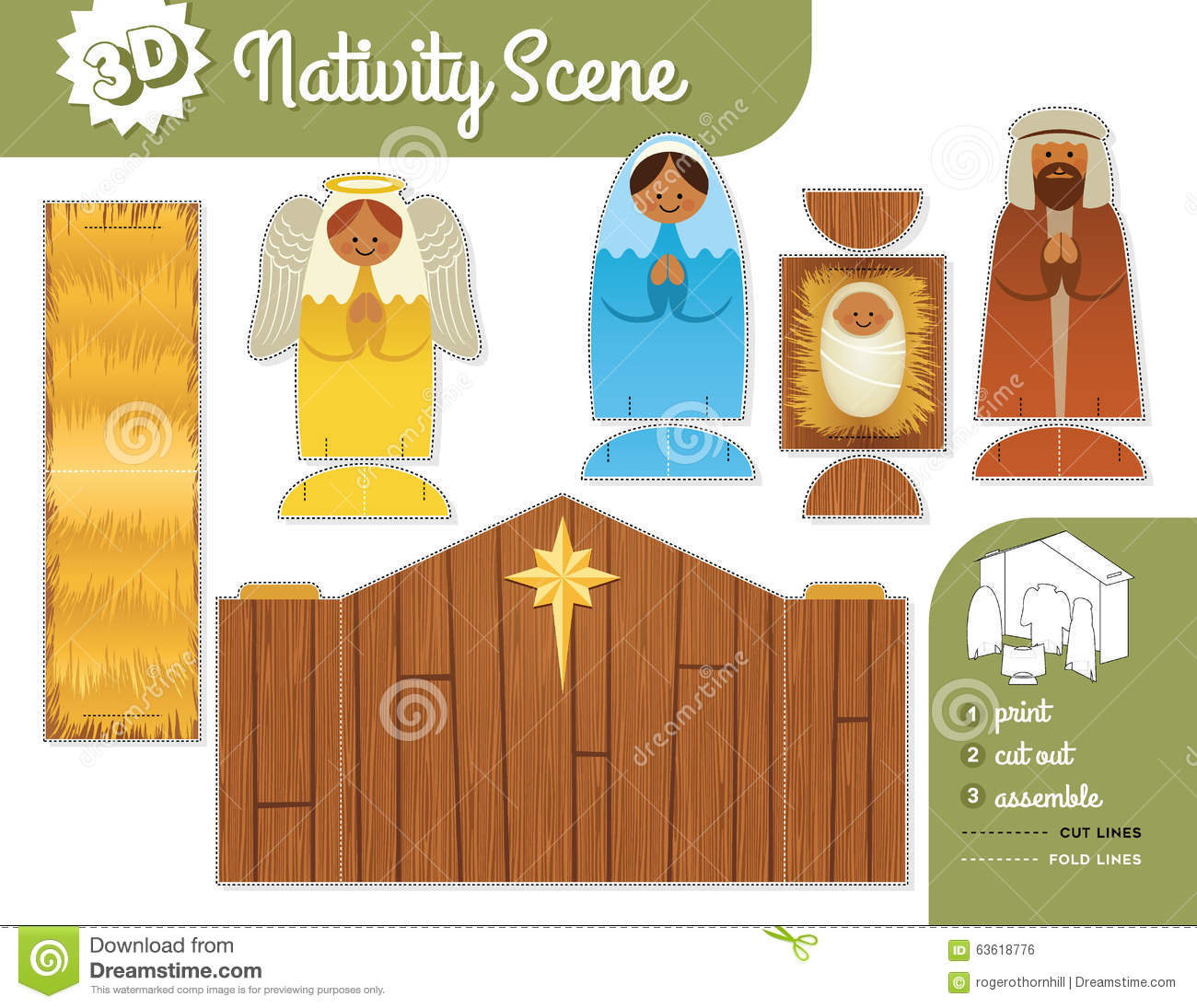 Nativity Scene. Print, cut out and assemble.children's activity set.