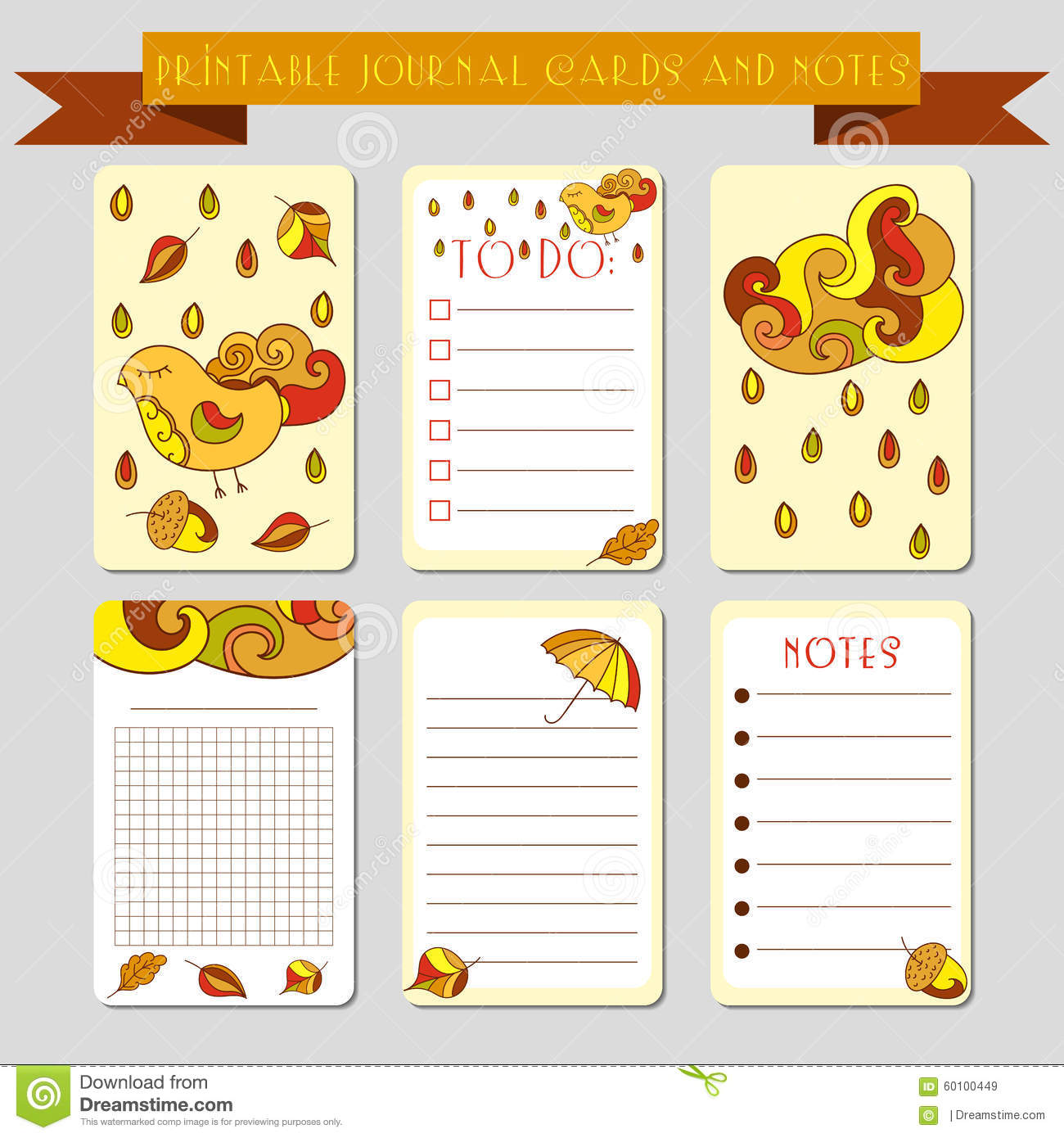 Printable Notes, Journal Cards With Autmun Illustrations