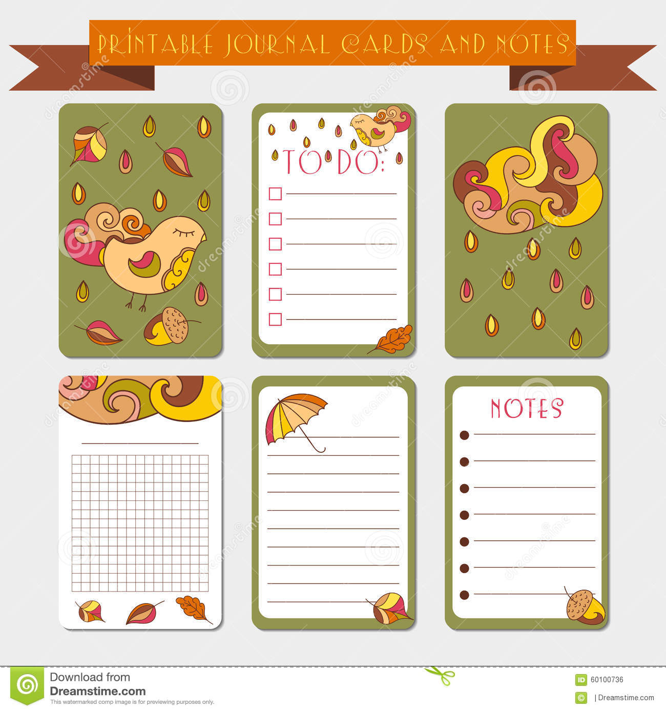 photo regarding Free Printable Journal Cards titled Printable Notes, Magazine Playing cards With Autmun Examples