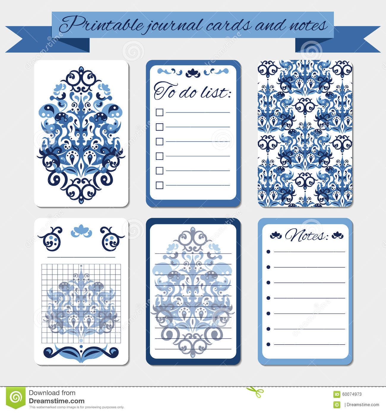 graphic regarding Printable Element Cards named Printable Notes, Magazine Playing cards, Labels, With Blue Damask