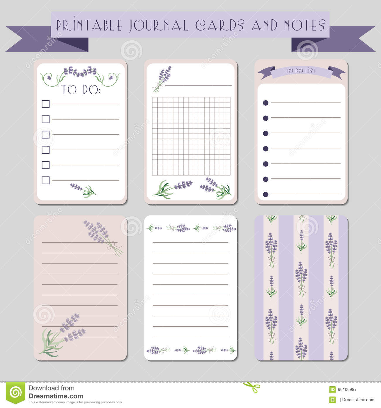 graphic relating to Printable Journals known as Printable Notes, Magazine Playing cards With Lavender Examples