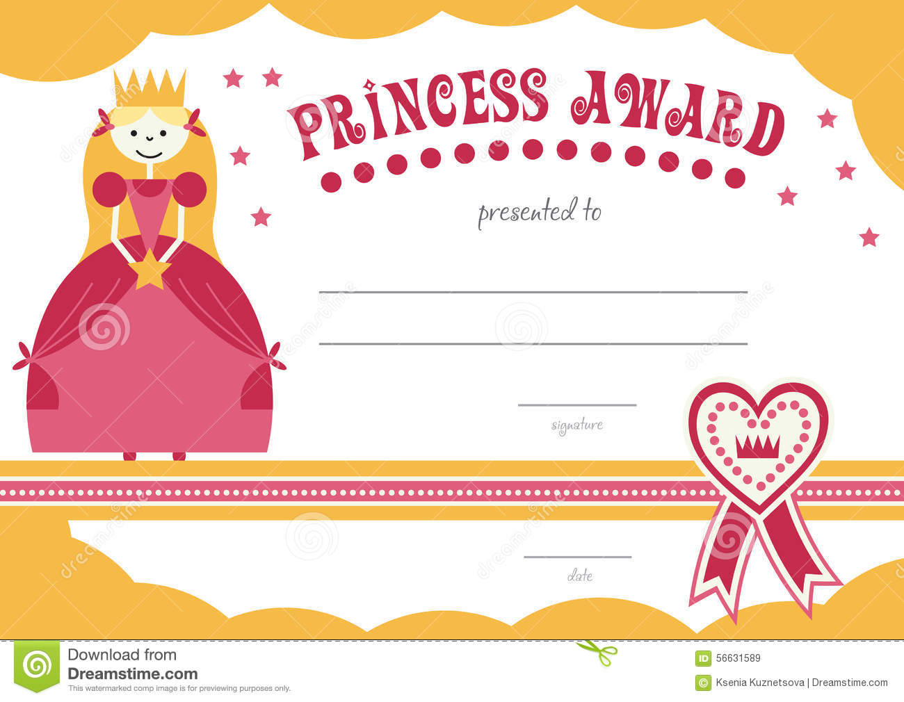 Printable princess certificate has a pretty pink stock vector printable princess certificate has a pretty pink xflitez Gallery