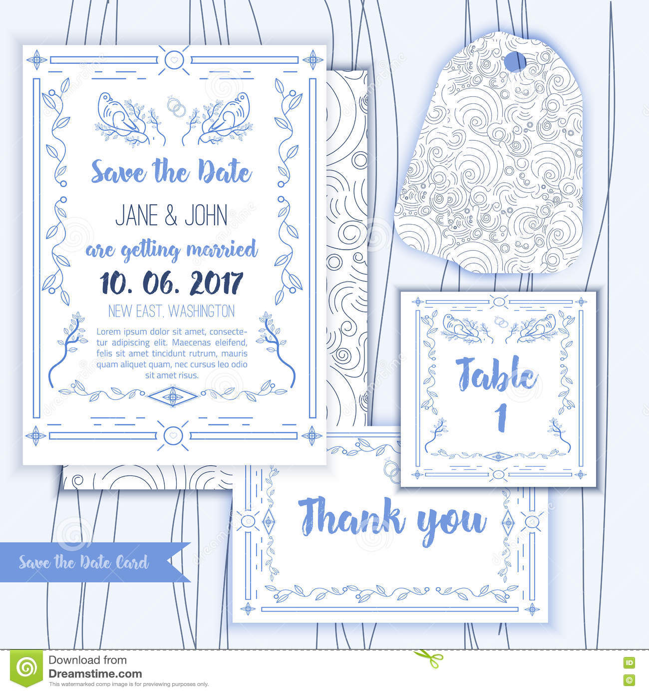 printable save the date with geometric blue frame in linear style